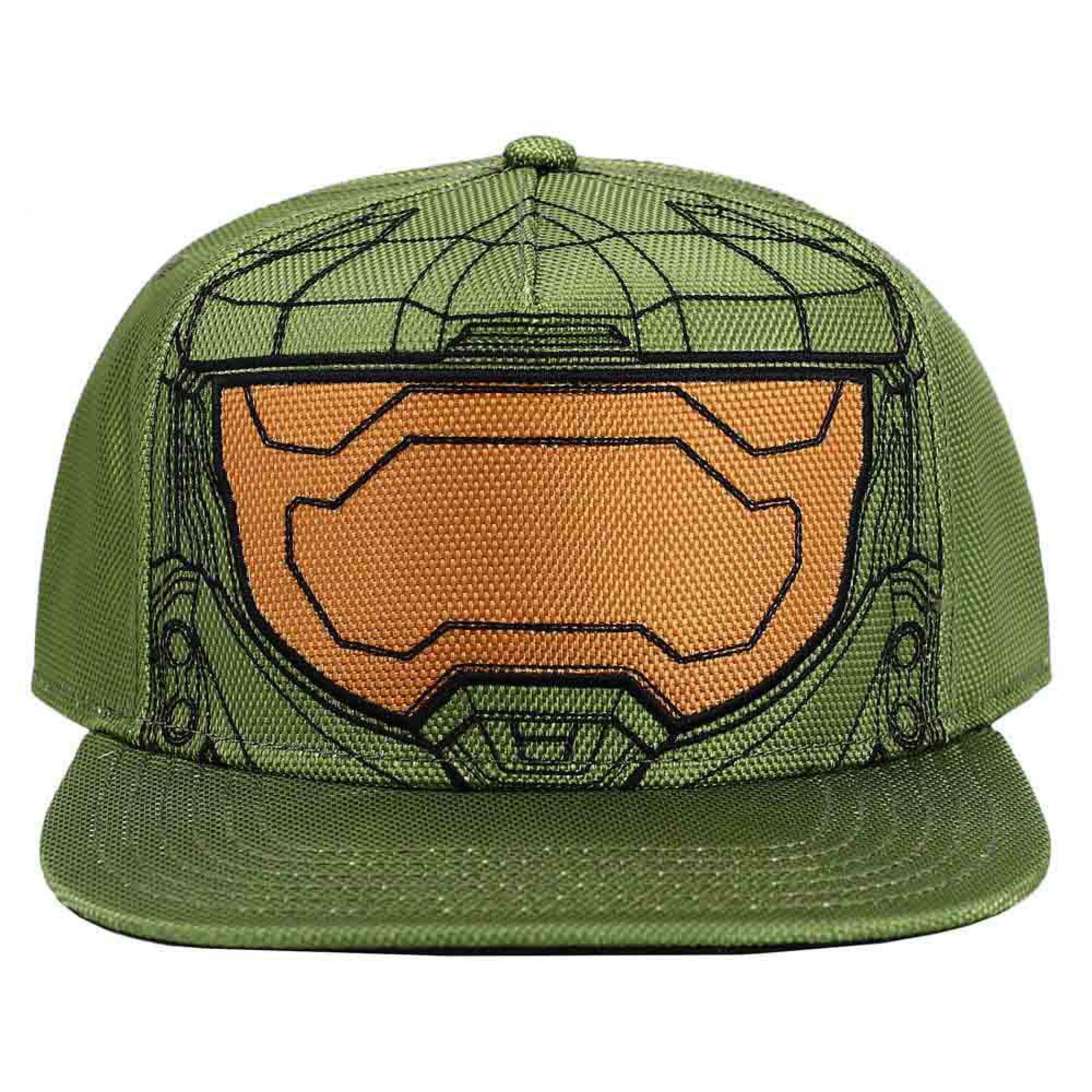 Halo Infinite Master Chief Helmet Flat Bill Snapback Hat