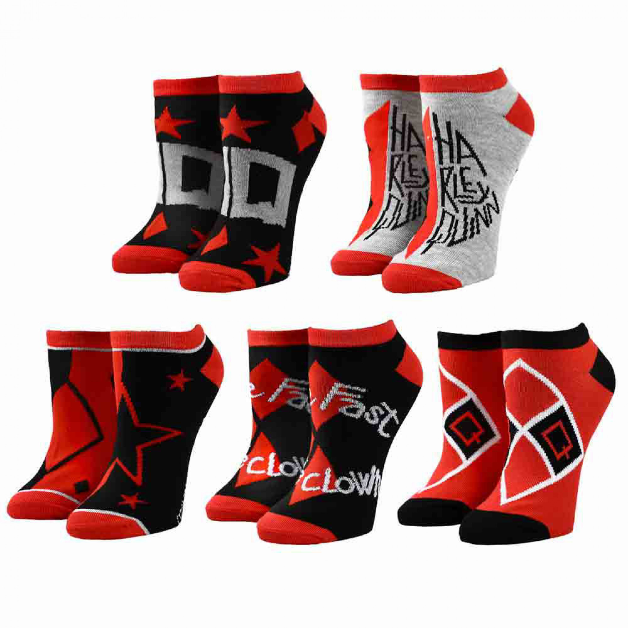 DC Comics Suicide Squad Harley Quinn Ankle Socks 5-Pack