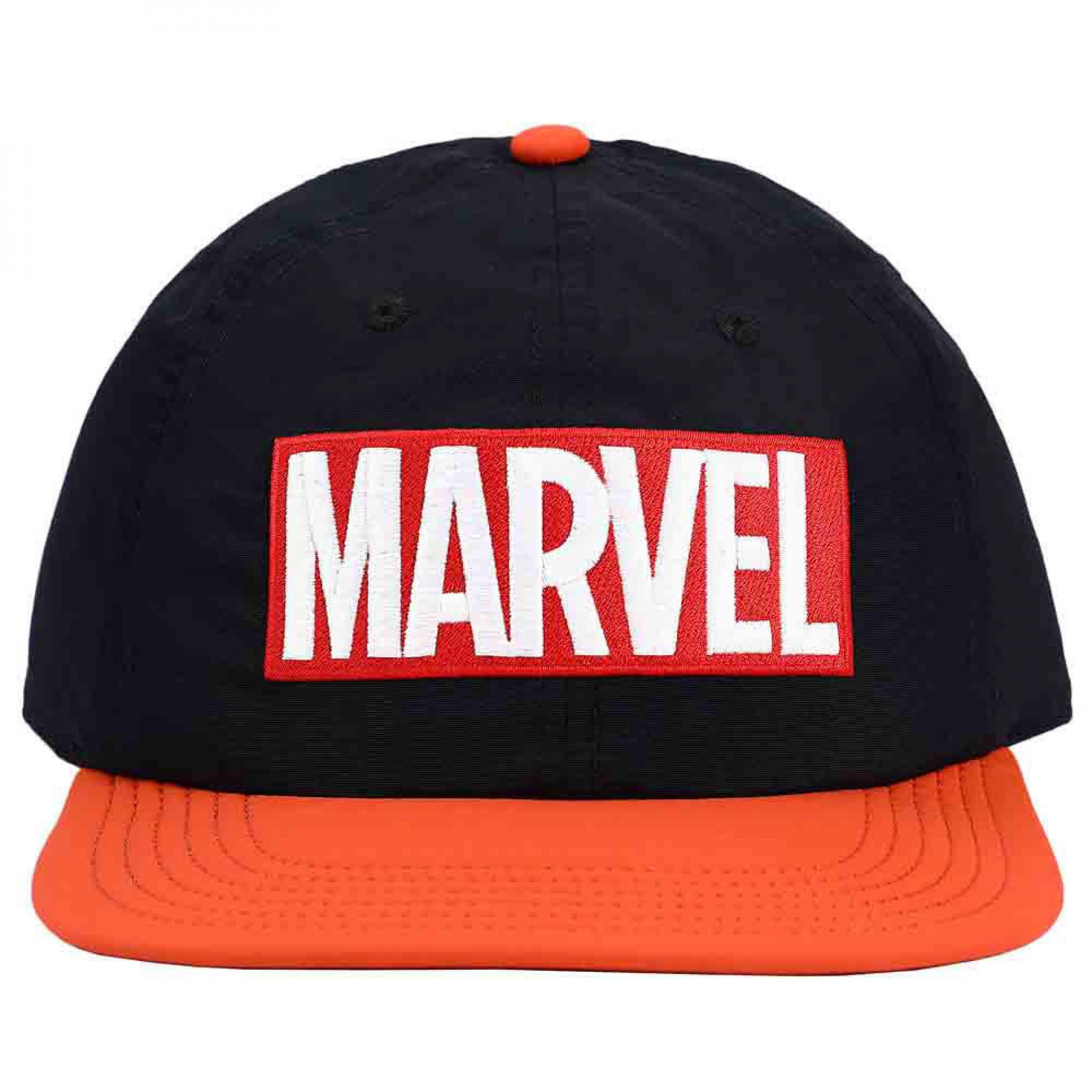 Marvel Comics Classic Embroidered Logo Flat Bill Snapback Hat