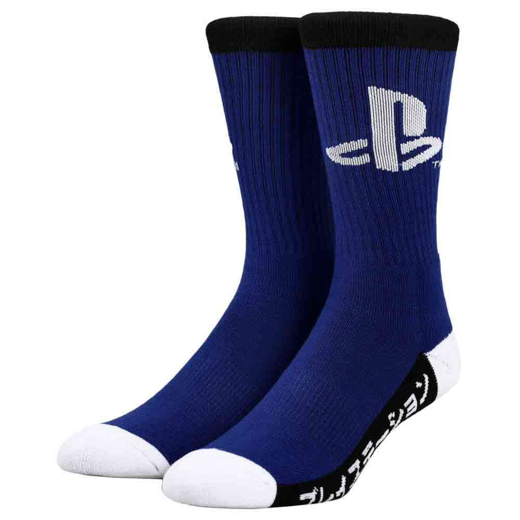 PlayStation Logo w/Japanese Katakana Text Crew Socks