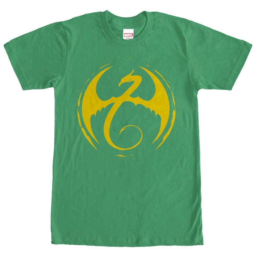 Marvel Teams Iron Fist Logo Green Mens T-Shirt