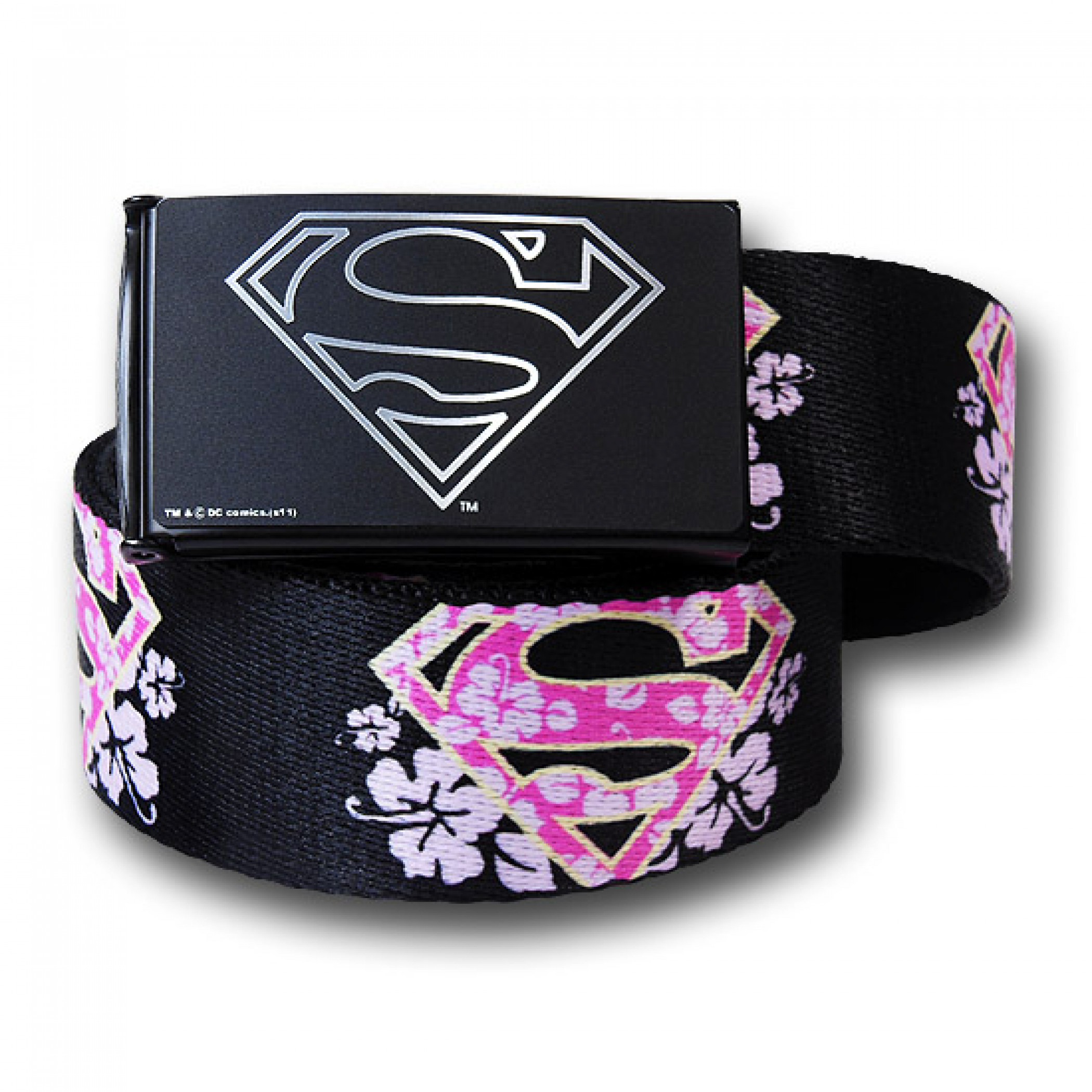 Supergirl Flower Symbols Black Adult Web Belt