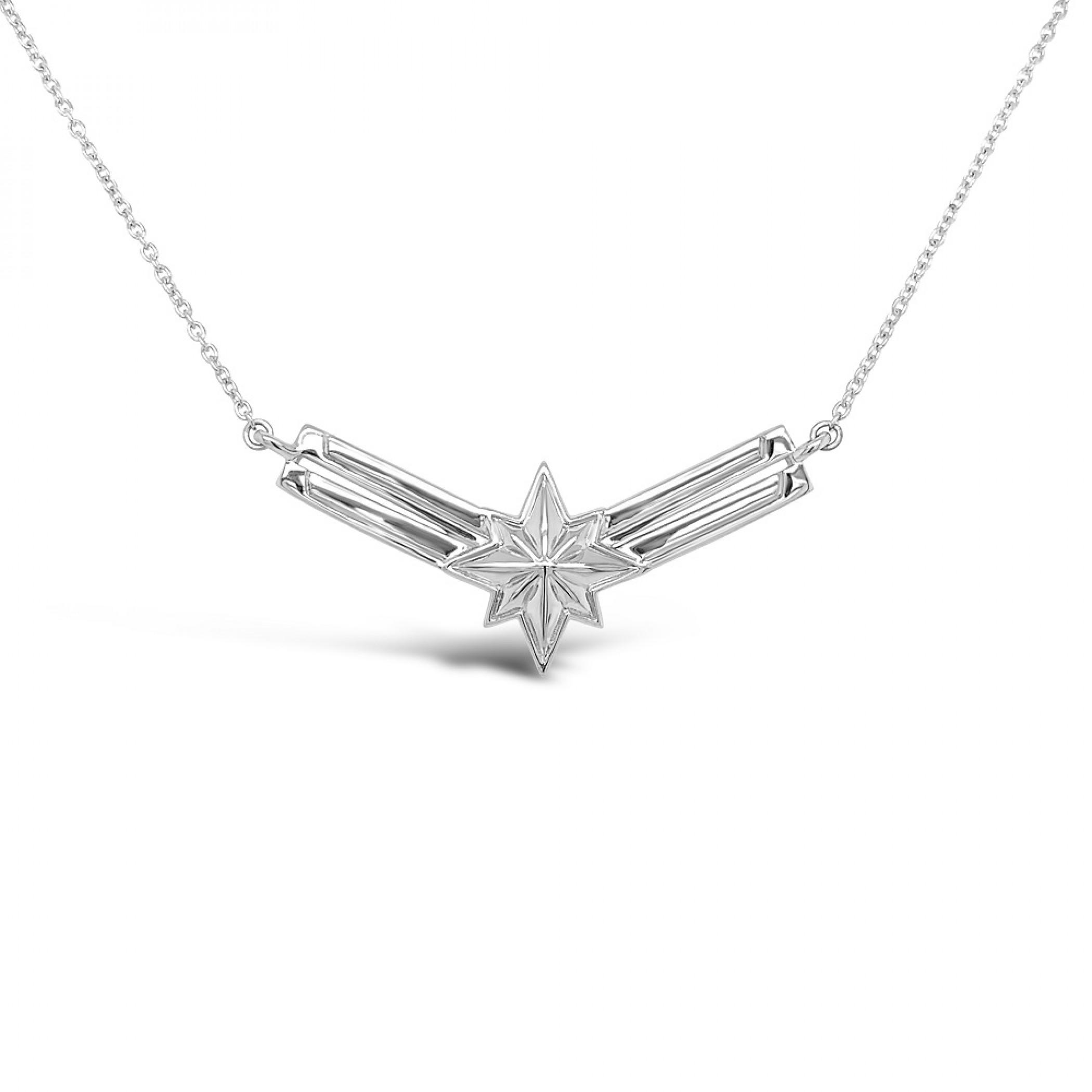 Captain Marvel Symbol Sterling Silver Necklace