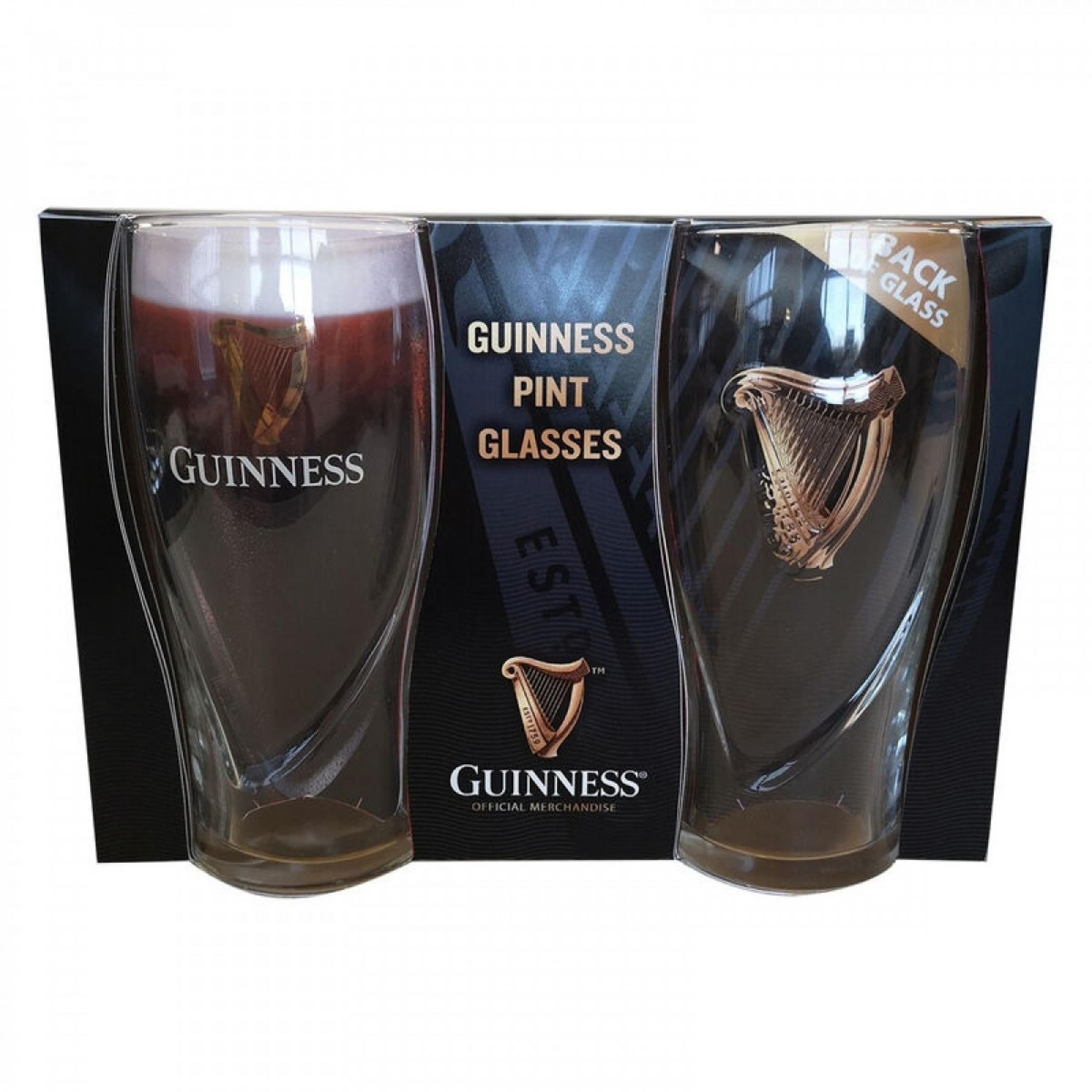 Guinness Harp Gravity 20oz Pint Glass 2-Pack