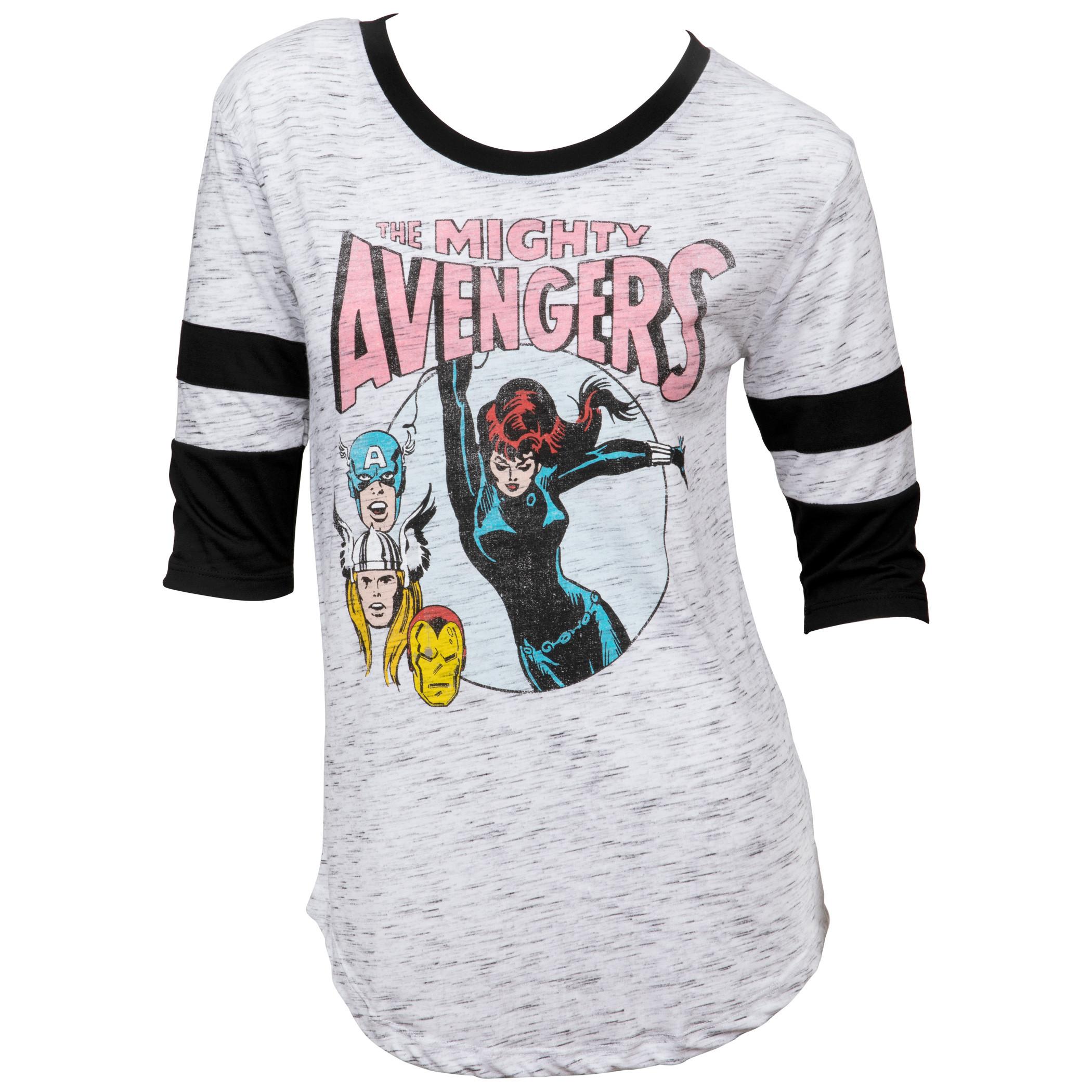 Marvel Avengers Black Widow Swinging Women's 3/4 Sleeve Scoop Neck Top