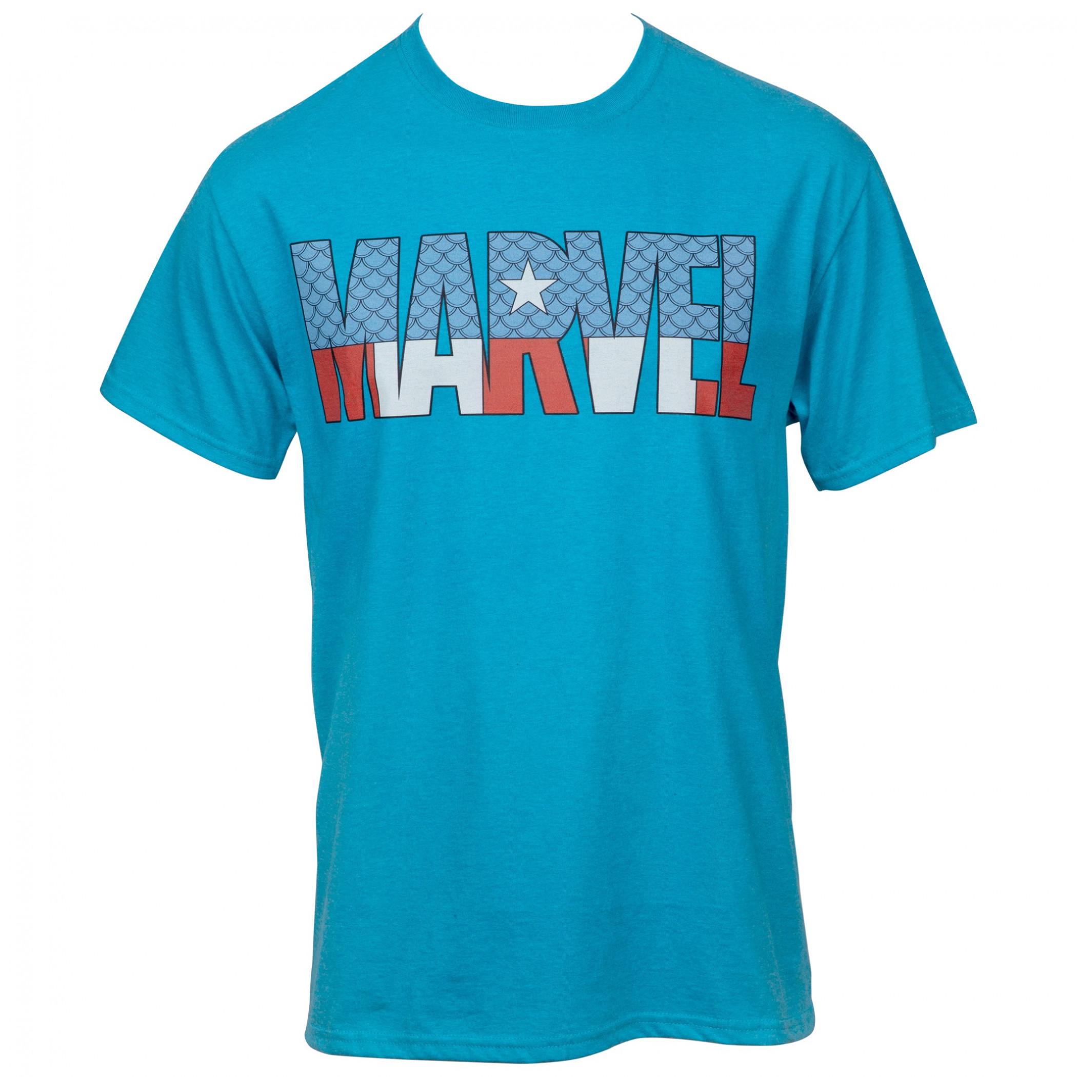Marvel Comics Text Brand Captain America Themed T-Shirt