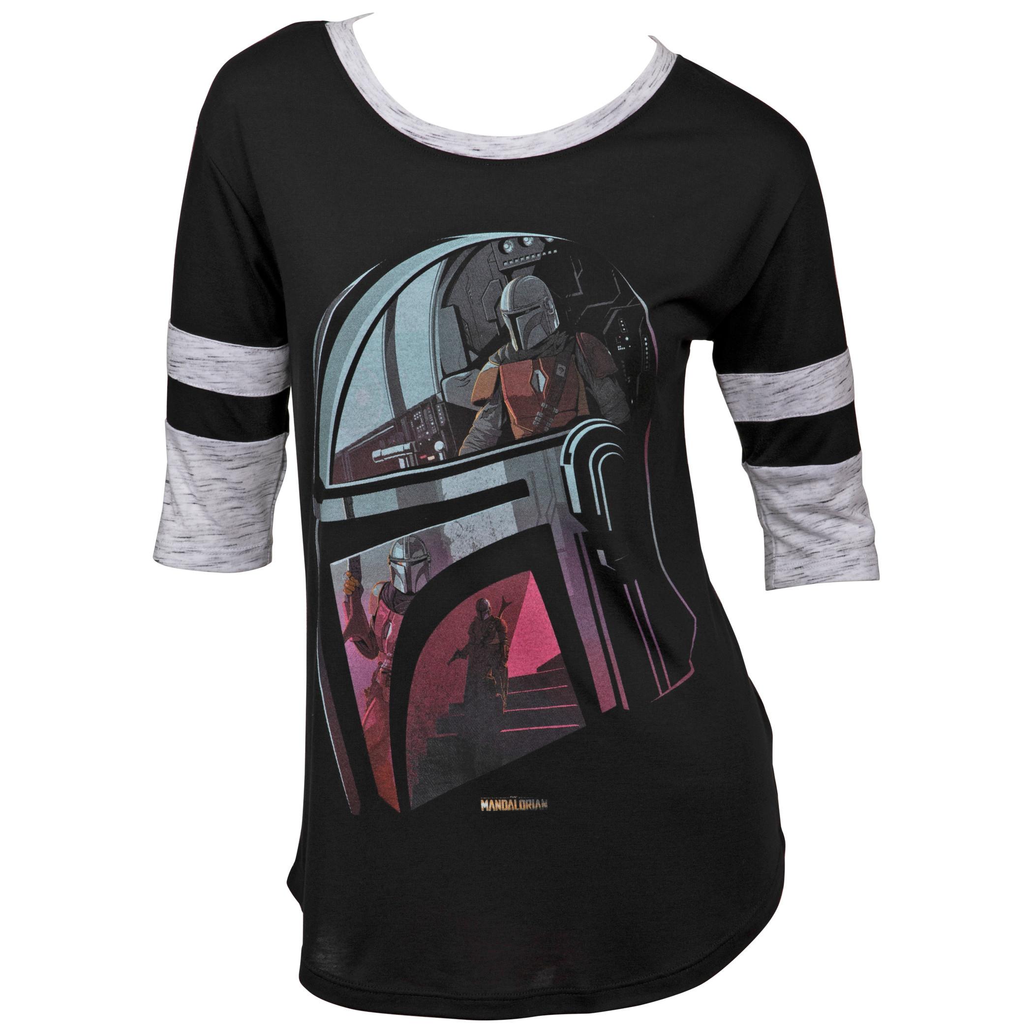 Star Wars The Mandalorian Helmet Women's 3/4 Sleeve Scoop Neck Top