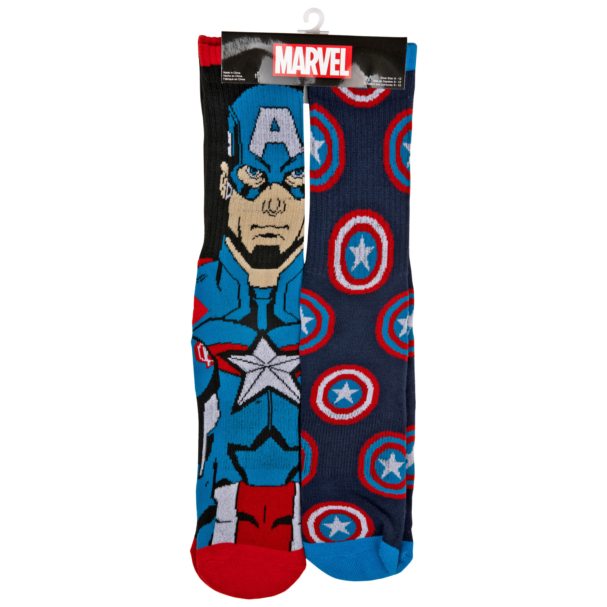 Captain America Character and Shield Symbols 2-Pair Pack of Athletic Socks