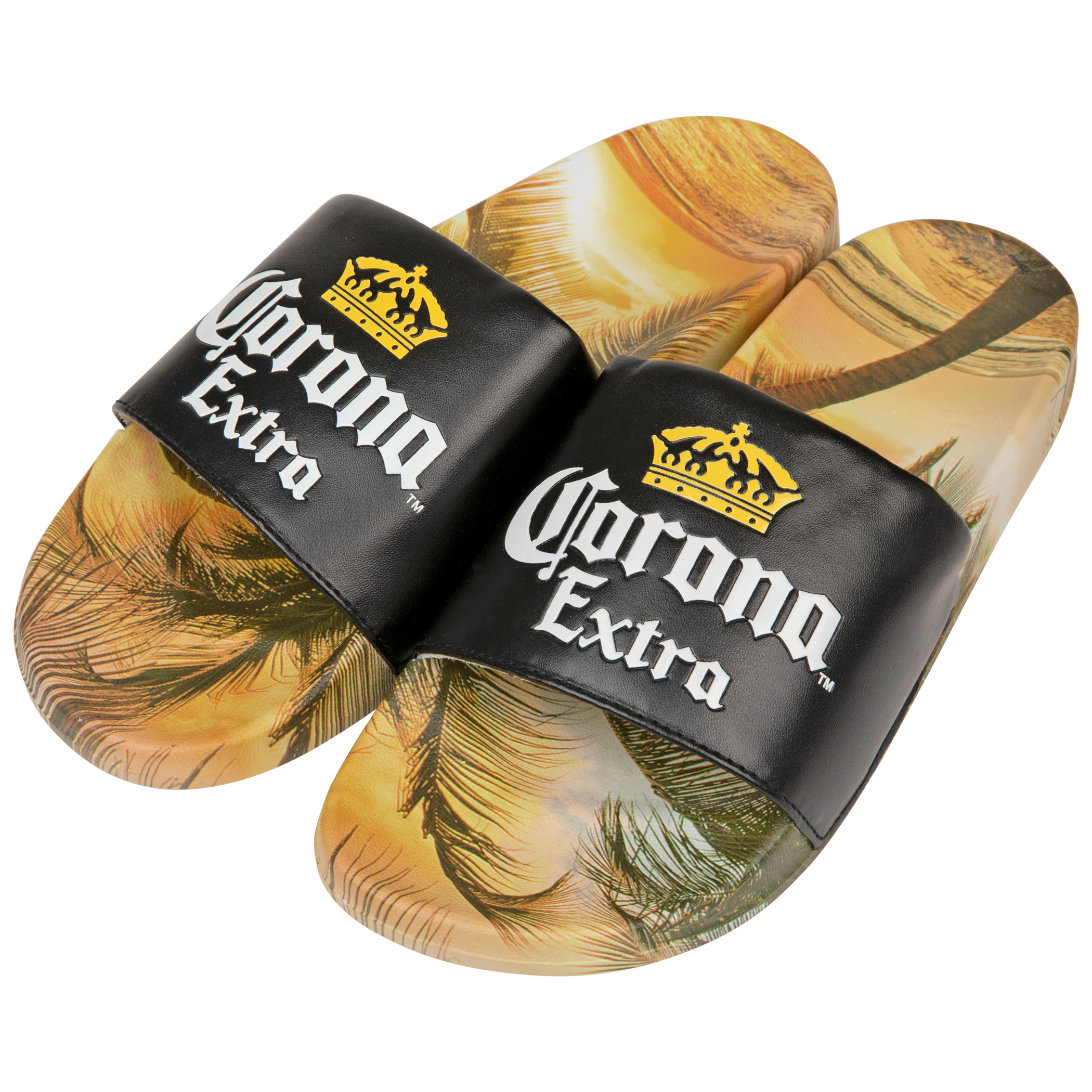 Corona Extra Black Label with Beach Scene Sandal Slides