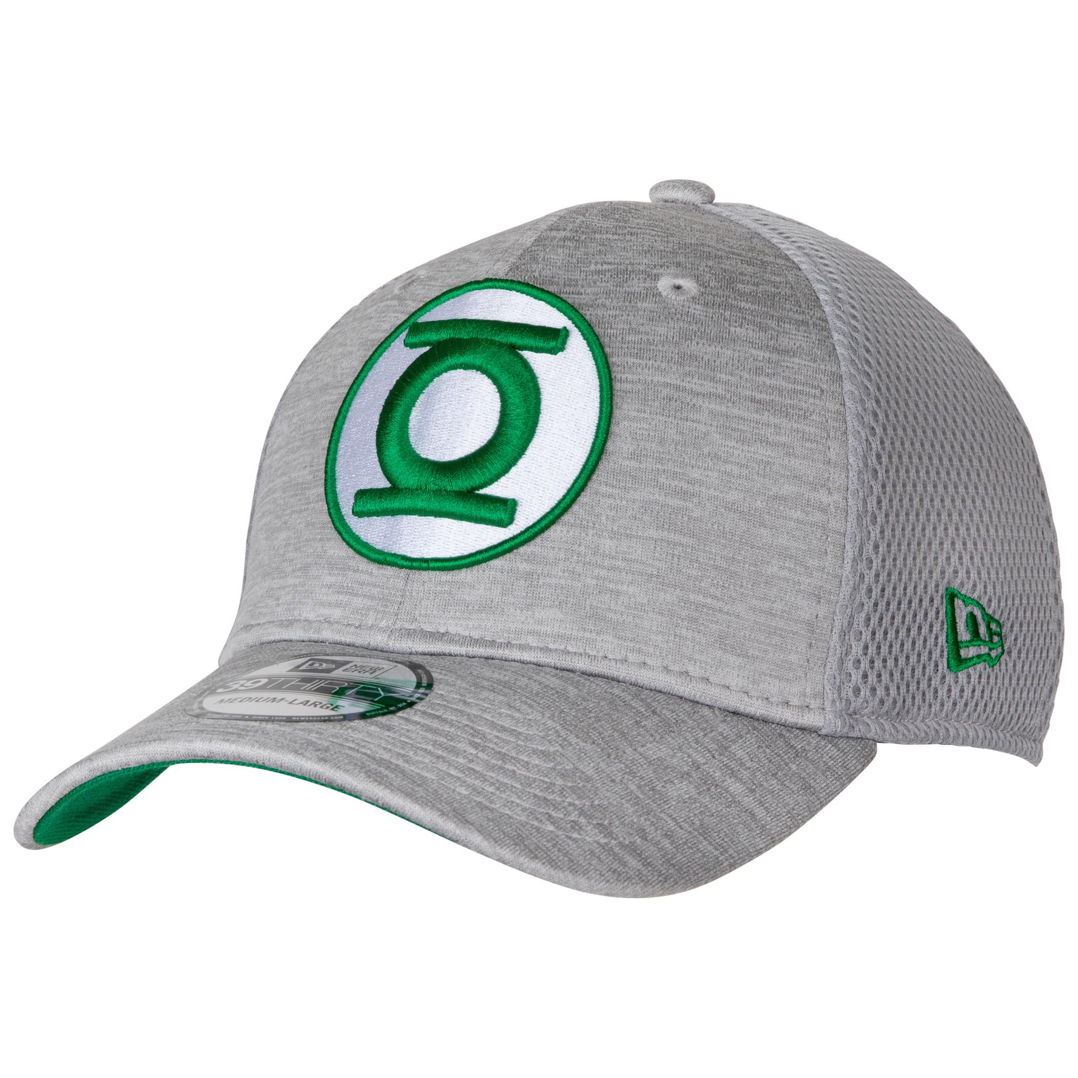 Green Lantern Symbol Grey Shadow Tech New Era 39Thirty Fitted Hat