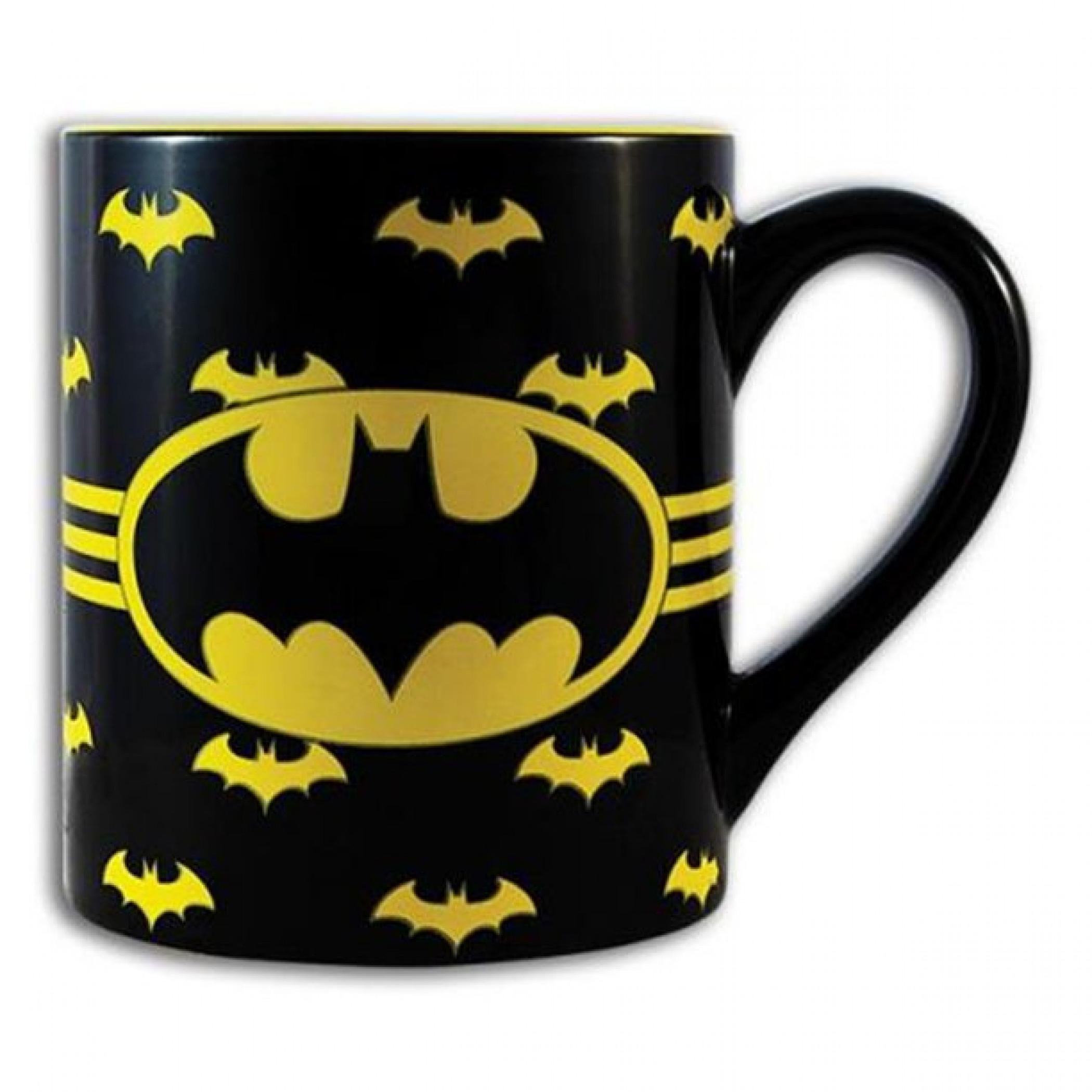 Batman Logo with Wrap Around Bats 14oz Ceramic Mug
