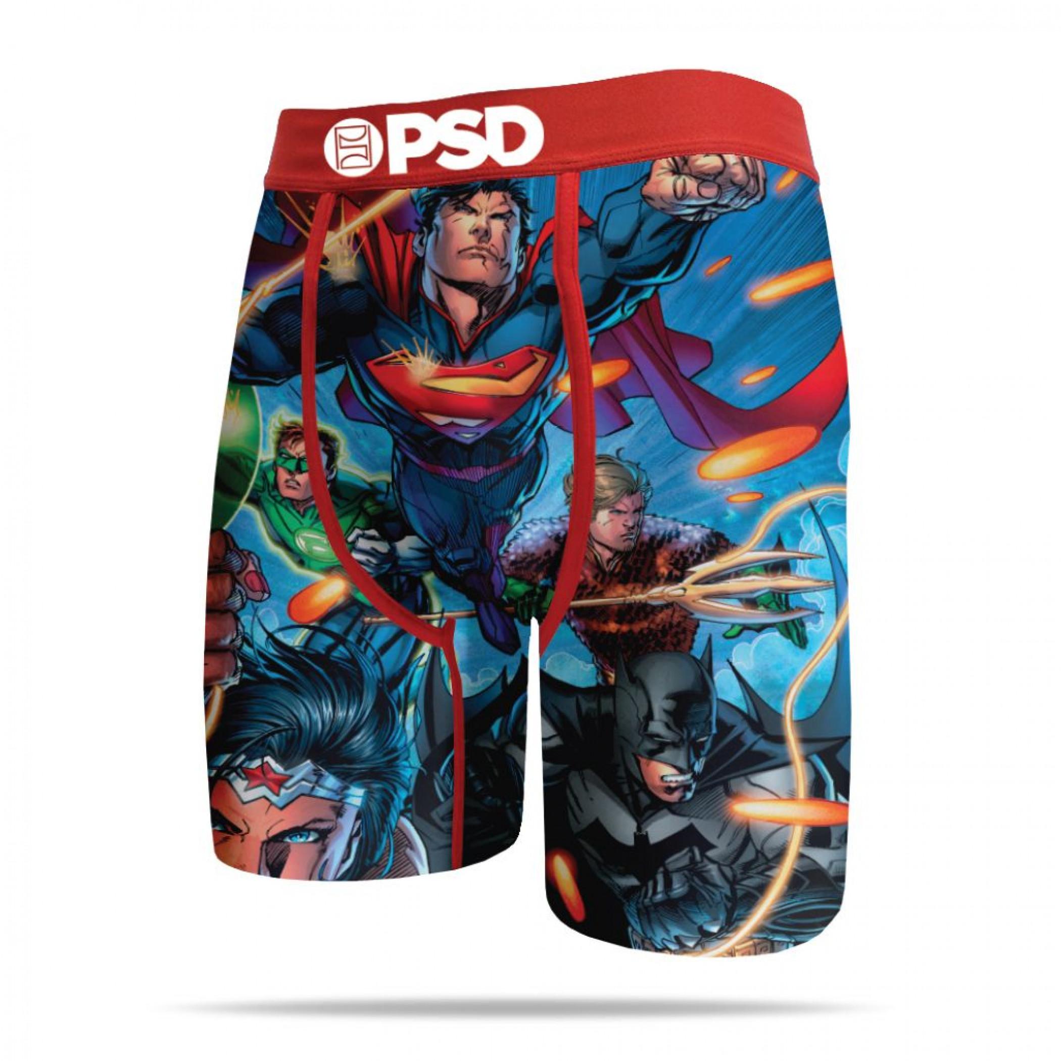 DC Comics Justice League Heroes Charge! Men's PSD Boxer Briefs