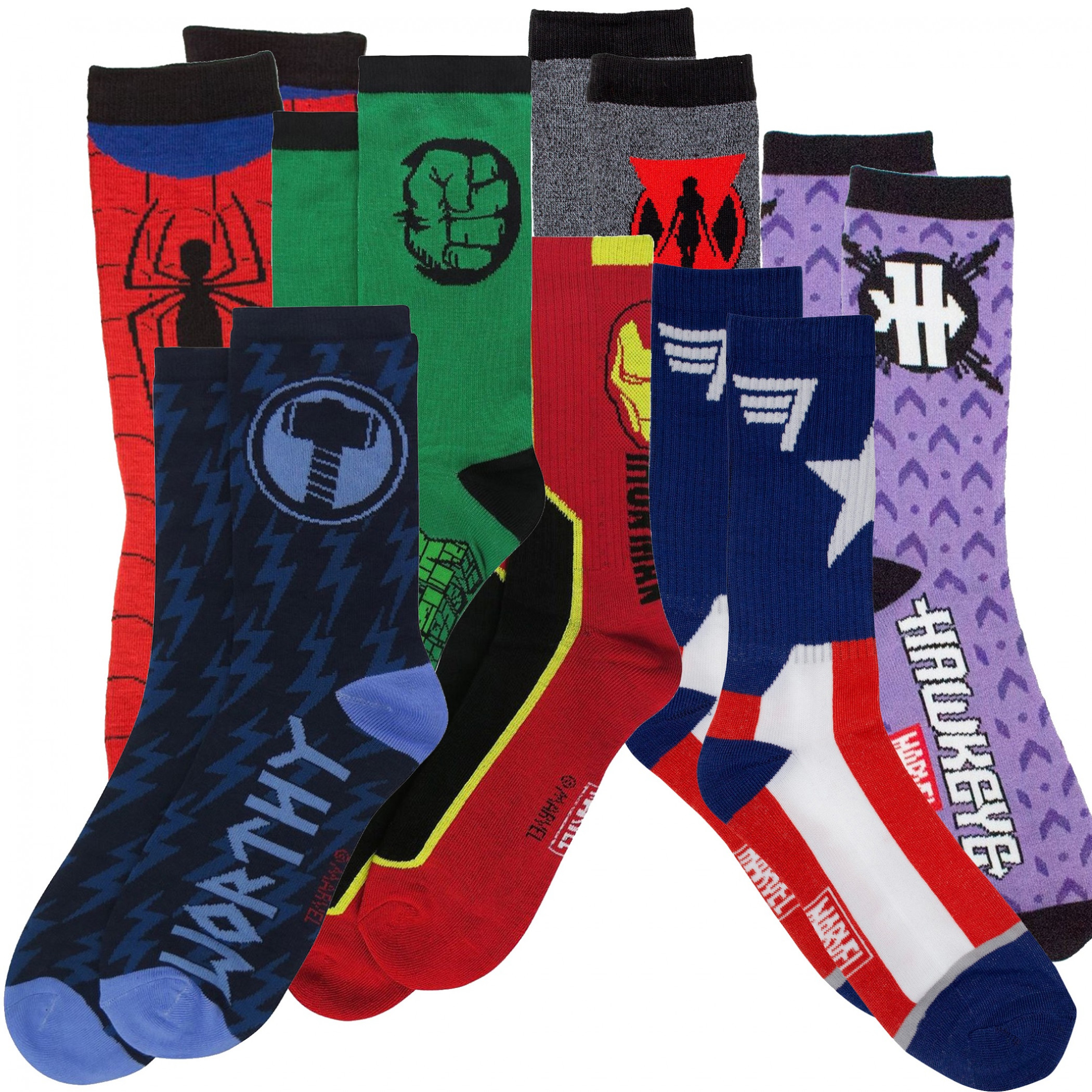 Avengers Original Movie Line-Up 7-Pack of Crew Socks