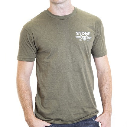 Stone Brewing Gargoyle Men's Army Green Tee Shirt