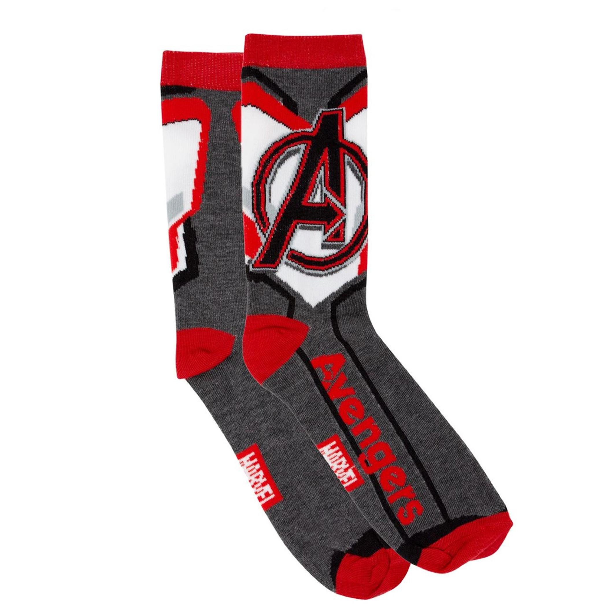 Marvel Brand Text and Avengers Costume Crew Socks 2-Pair Pack