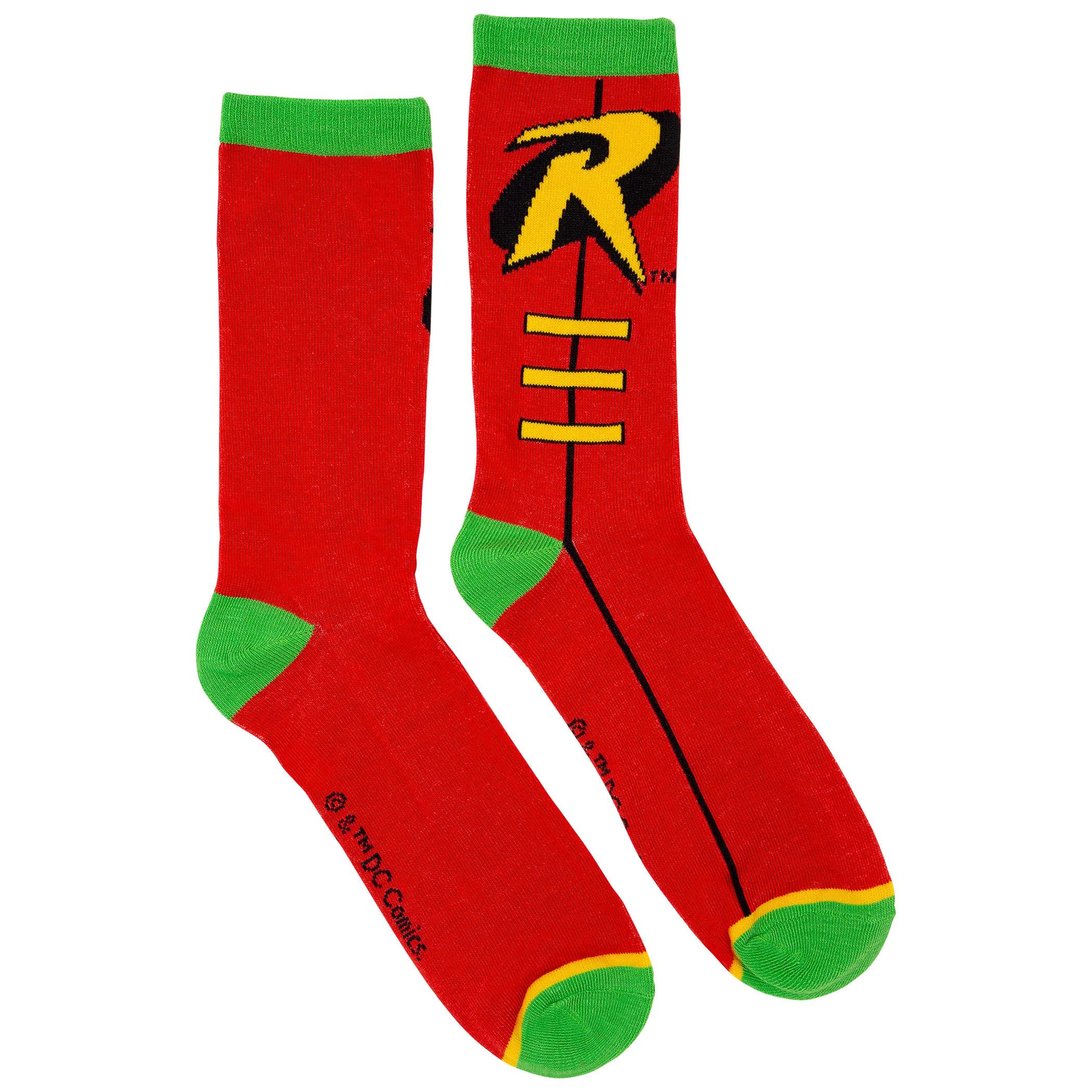 Batman and Robin Costume Symbol Crew Socks 2-Pair Pack