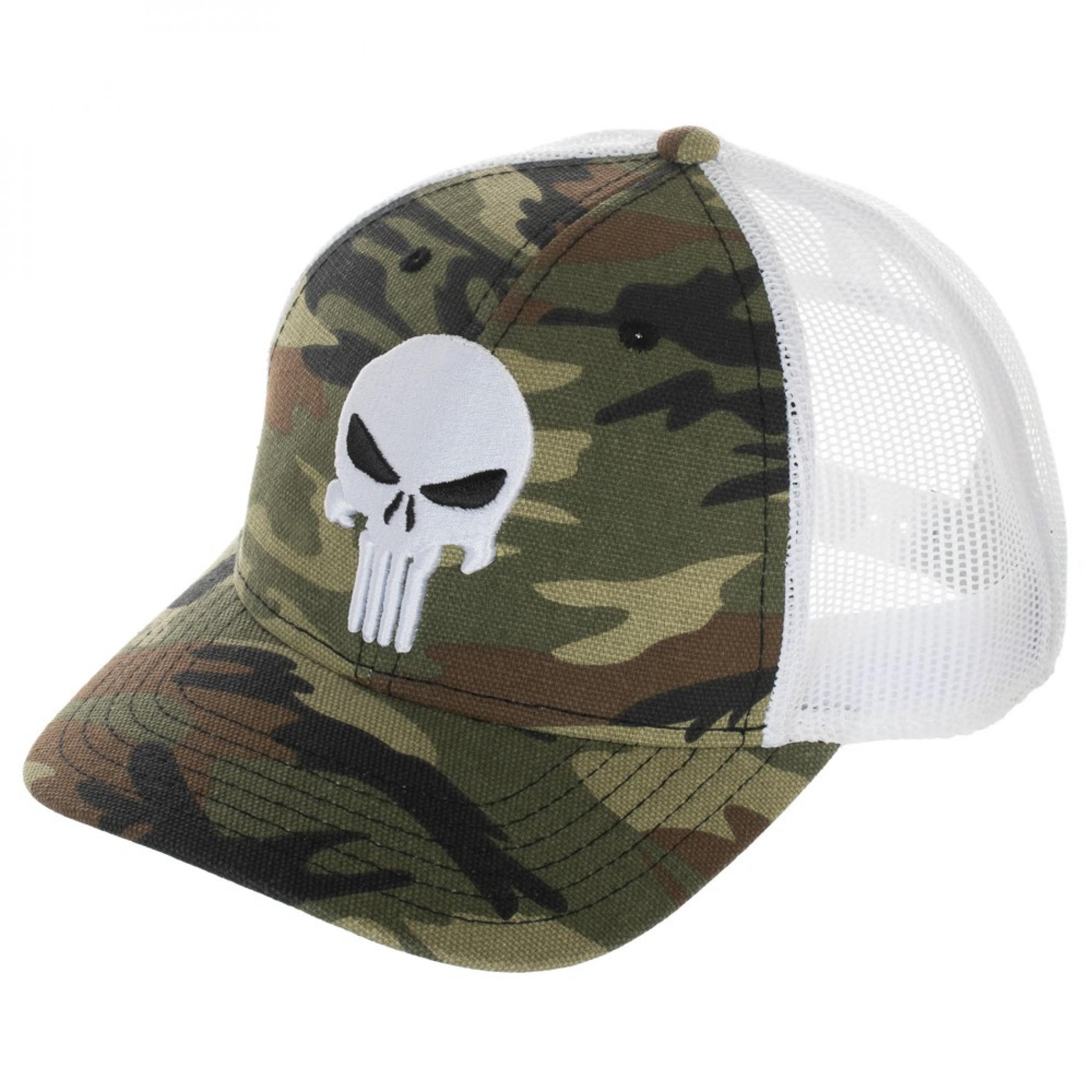 Punisher Camo Pre-Curved Adjustable Mesh Trucker Hat