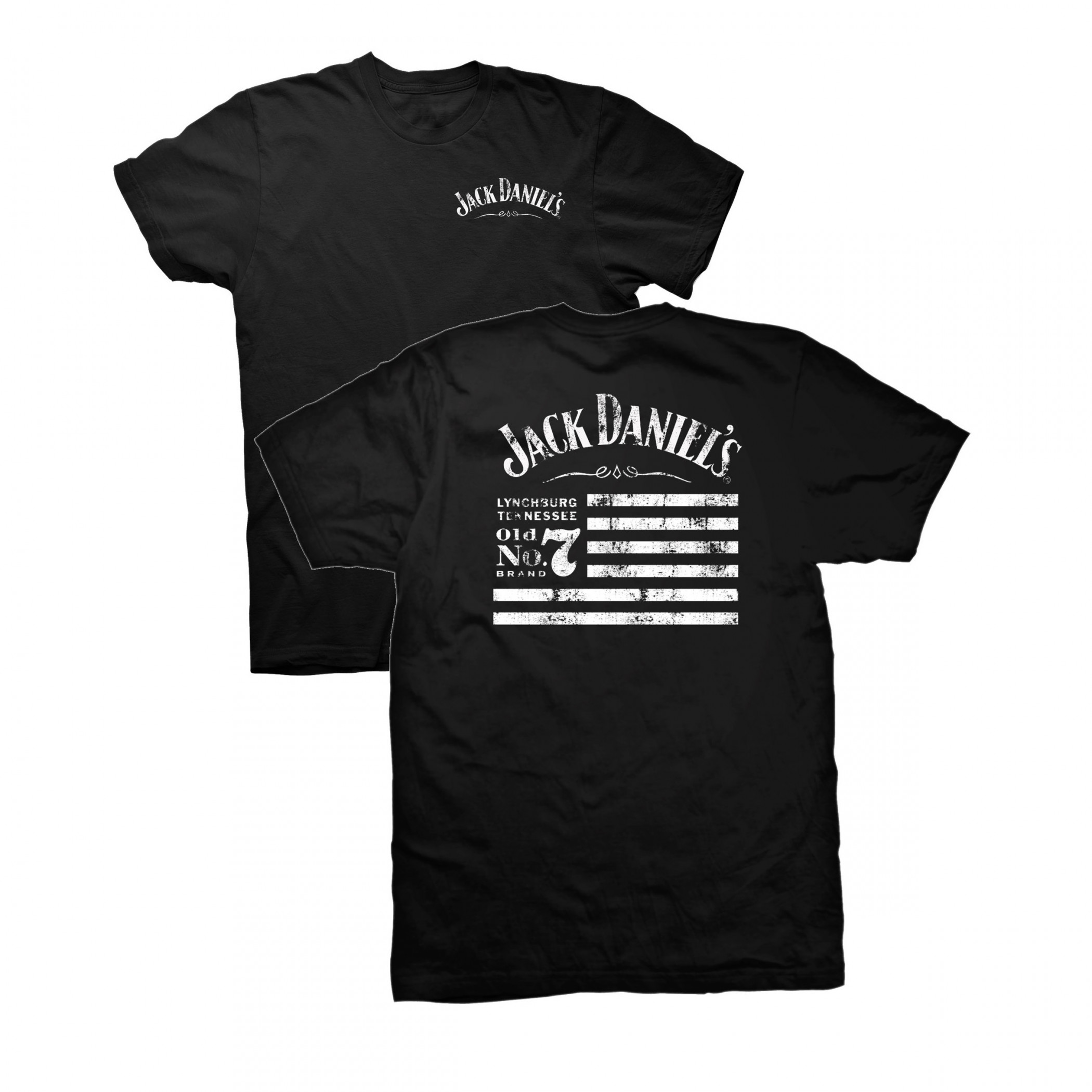 Jack Daniel's Tennessee Whiskey Old No.7 Brand Flag Front and Back T-Shirt