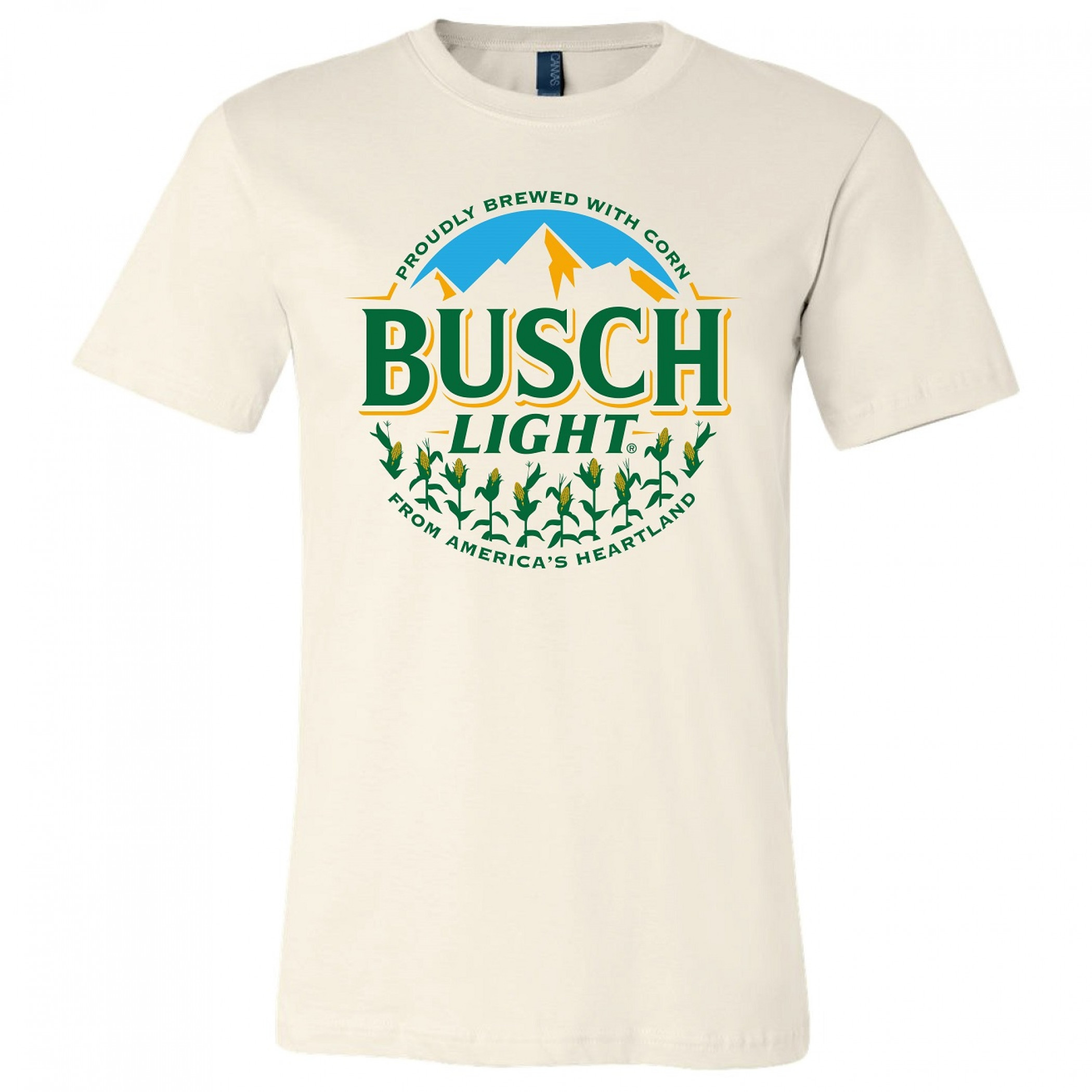 Busch Light Beer Proudly Brewed with Corn Circle Logo Natural T-Shirt
