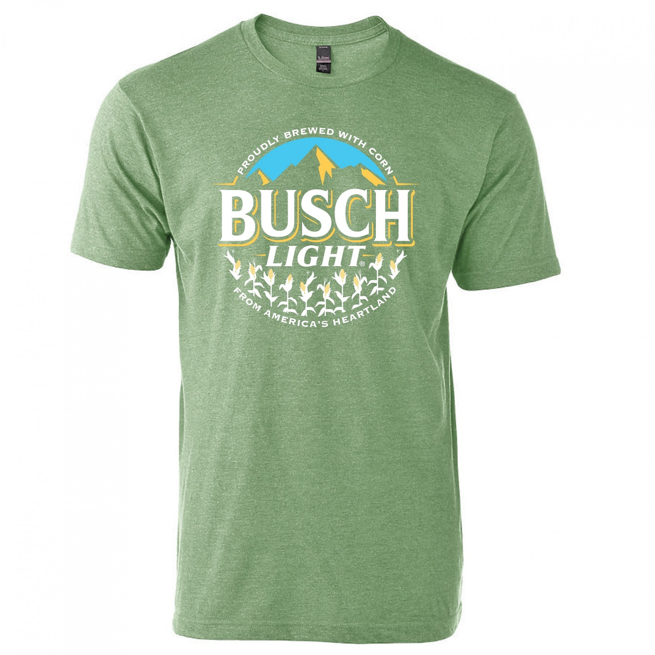 Busch Light Beer Proudly Brewed with Corn Circle Logo T-Shirt