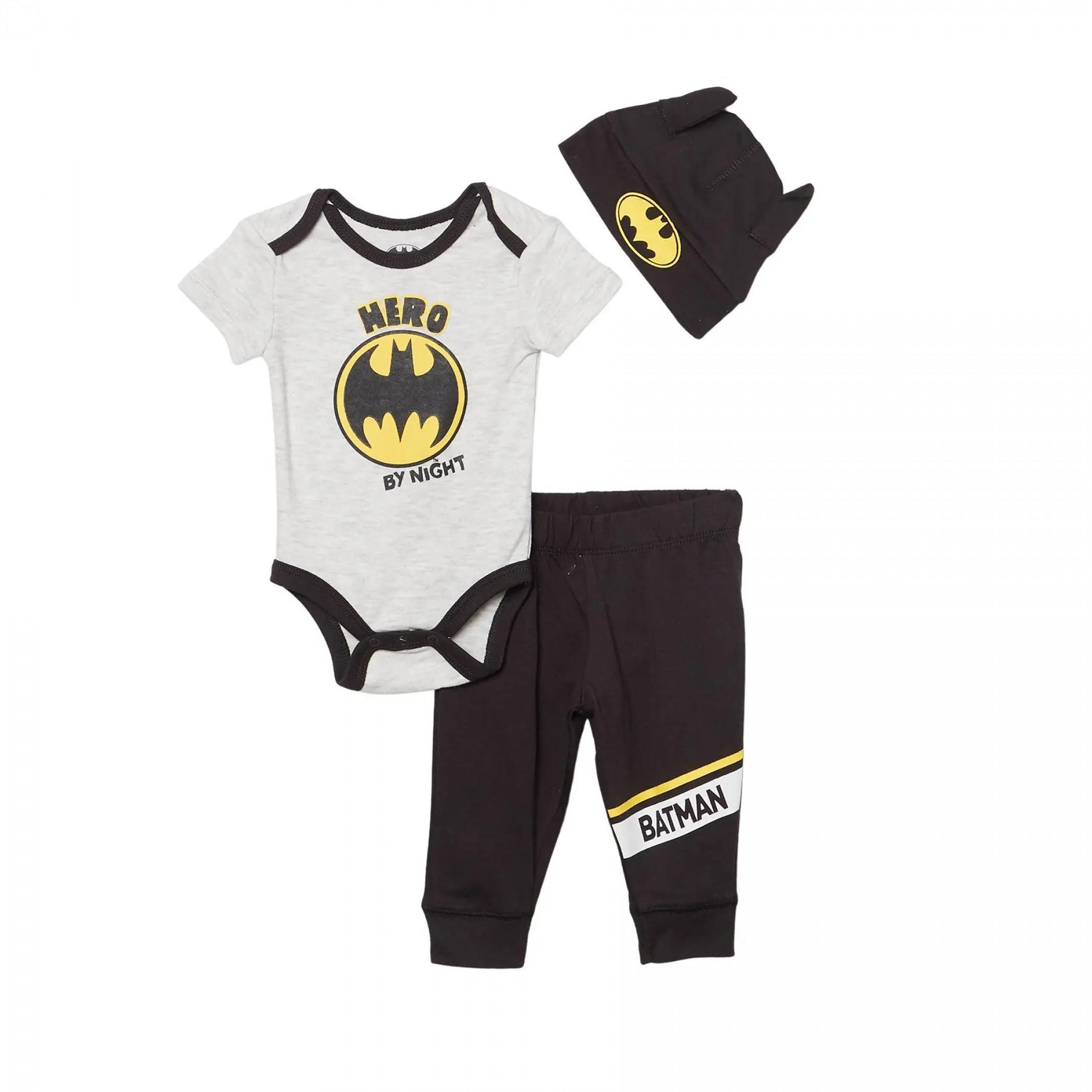 Batman Logo 3-Piece Bodysuit Set With Cap