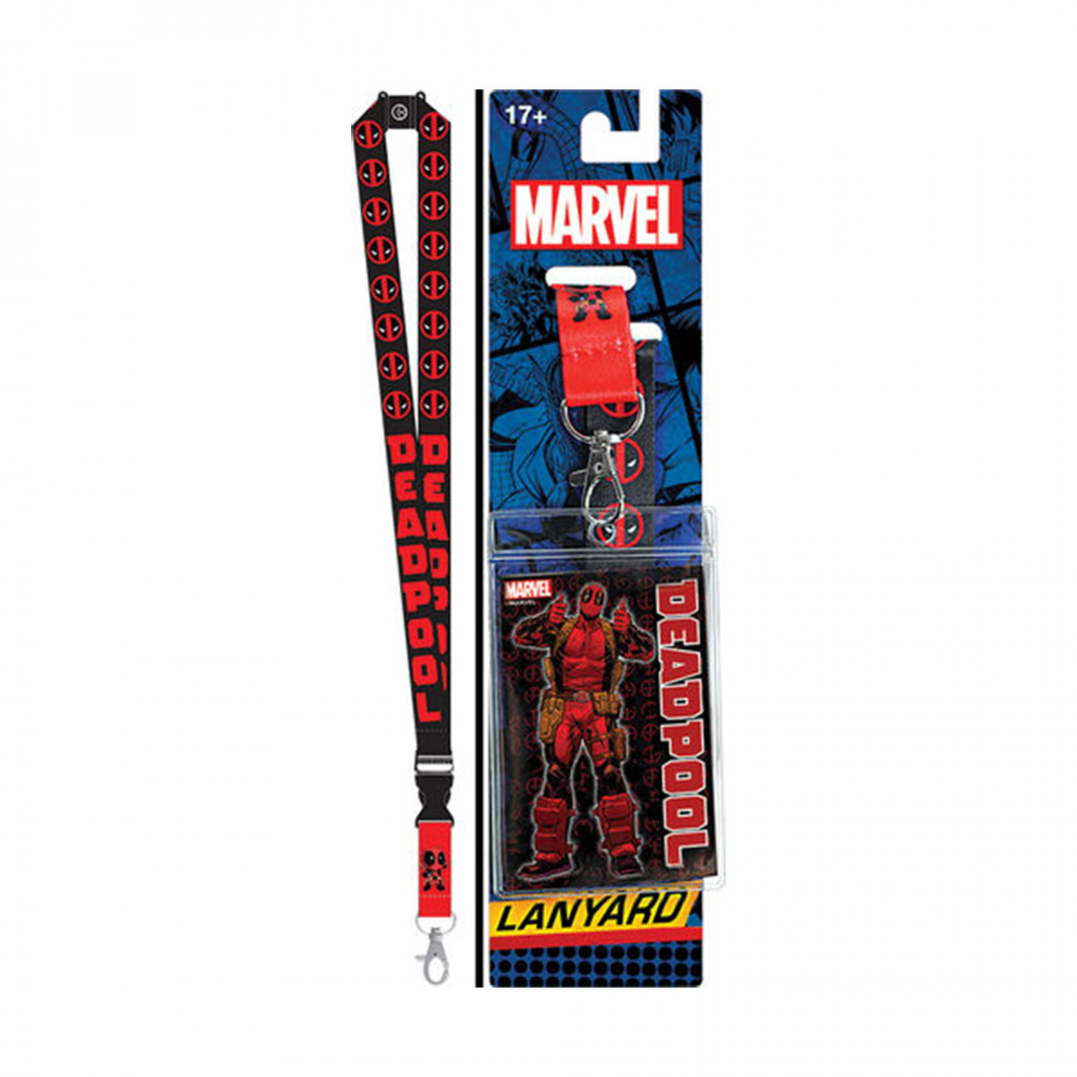 Deadpool Repeating Logos Lanyard