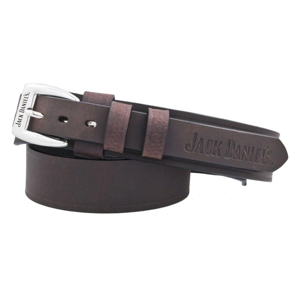 Jack Daniels Embossed Logo Leather Belt
