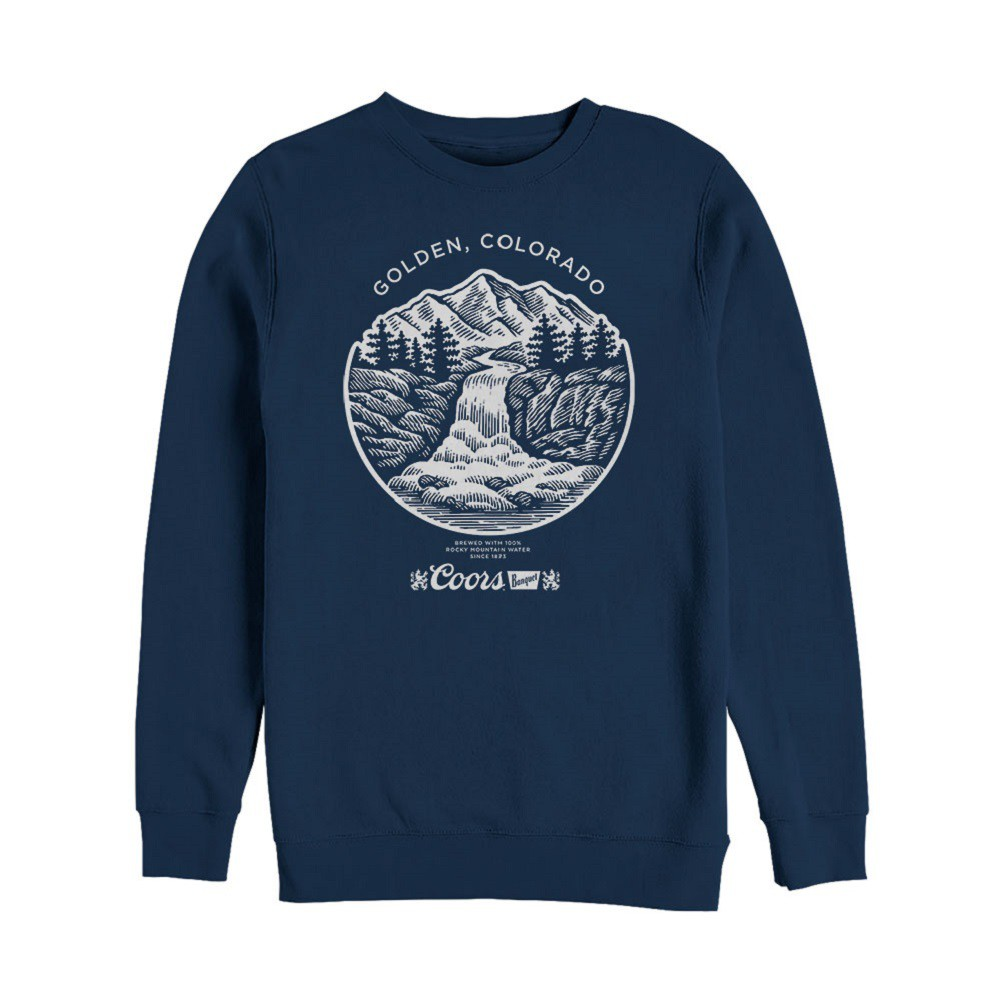 Coors Banquet Waterfall Navy Blue Crewneck Sweatshirt