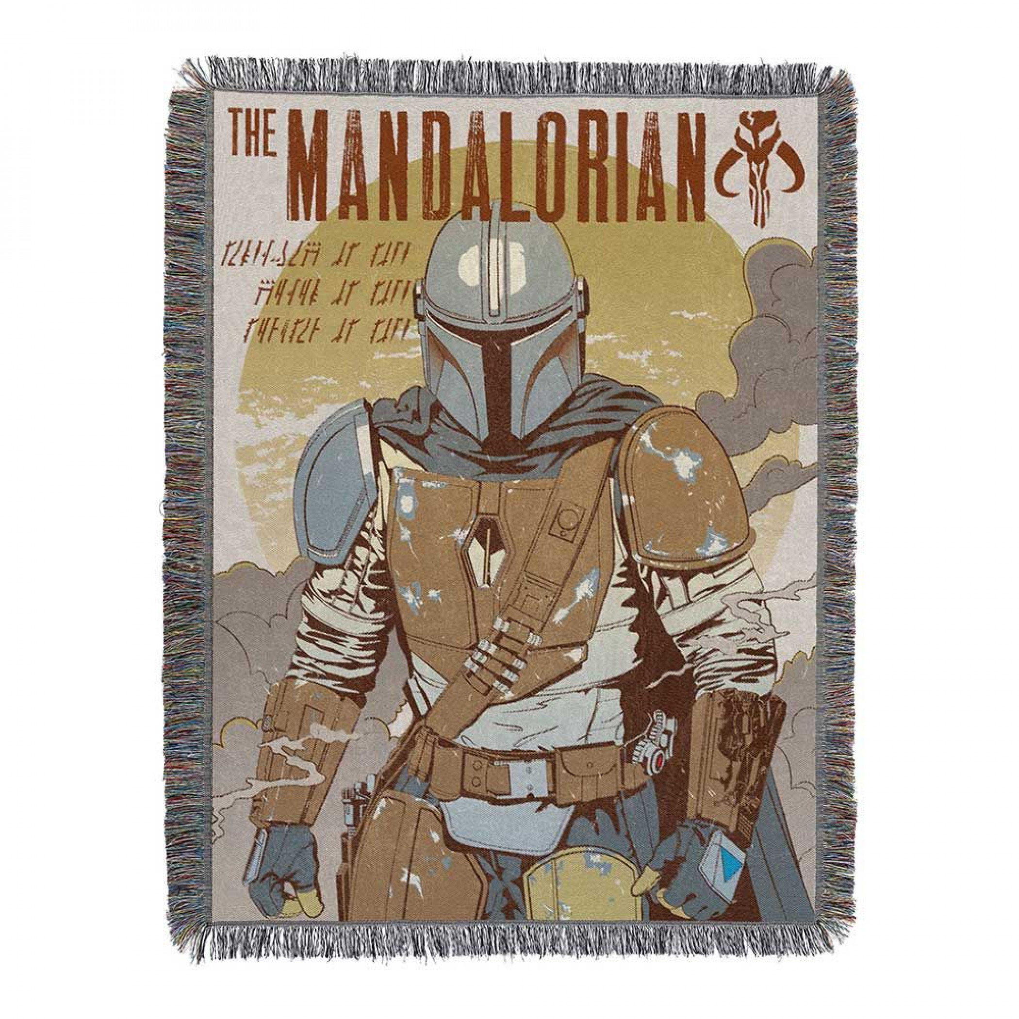 Star Wars: The Mandalorian Standoff Woven Tapestry Throw Blanket