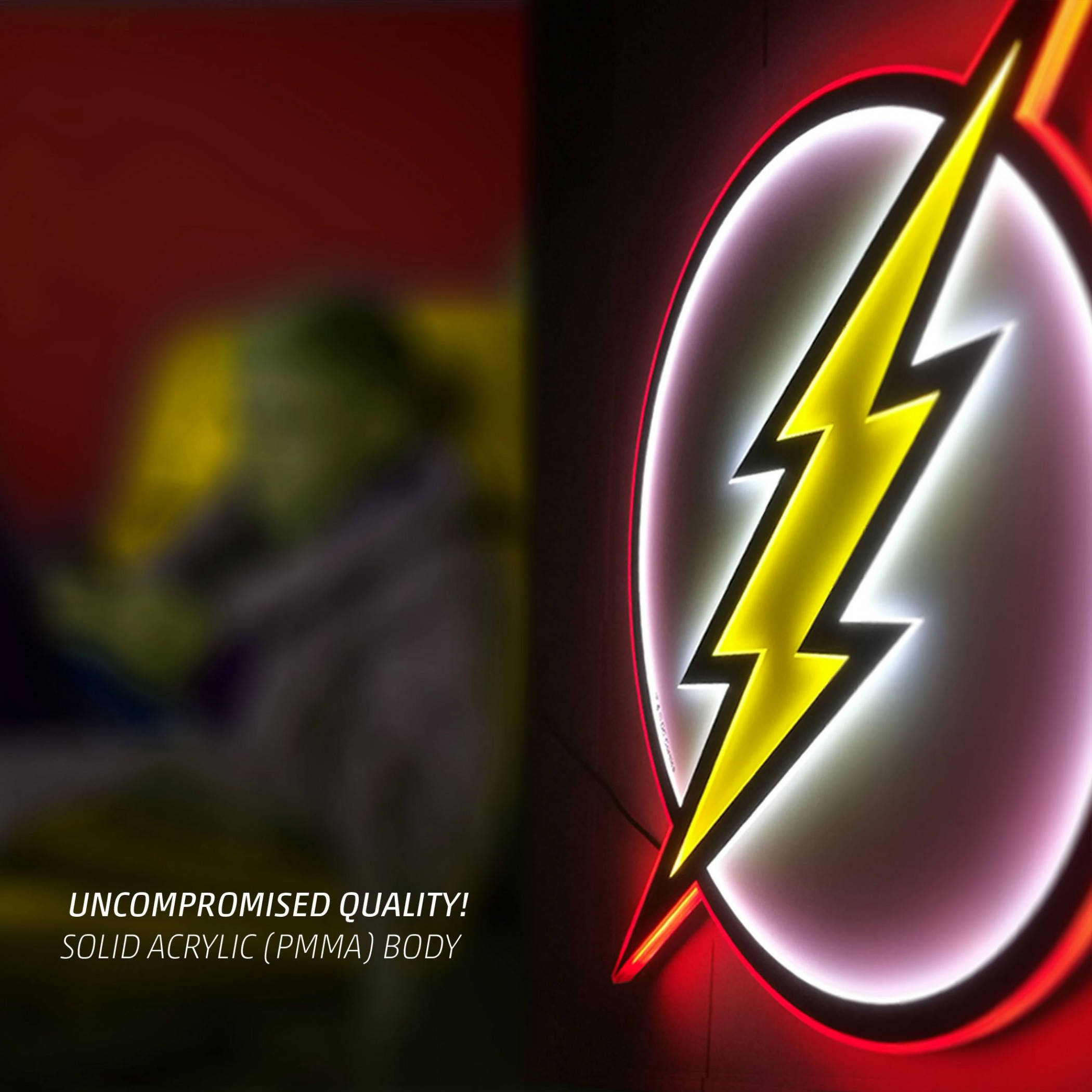 Flash Symbol Illuminated Table Lamp Or Mountable Wall Art With Dimmer