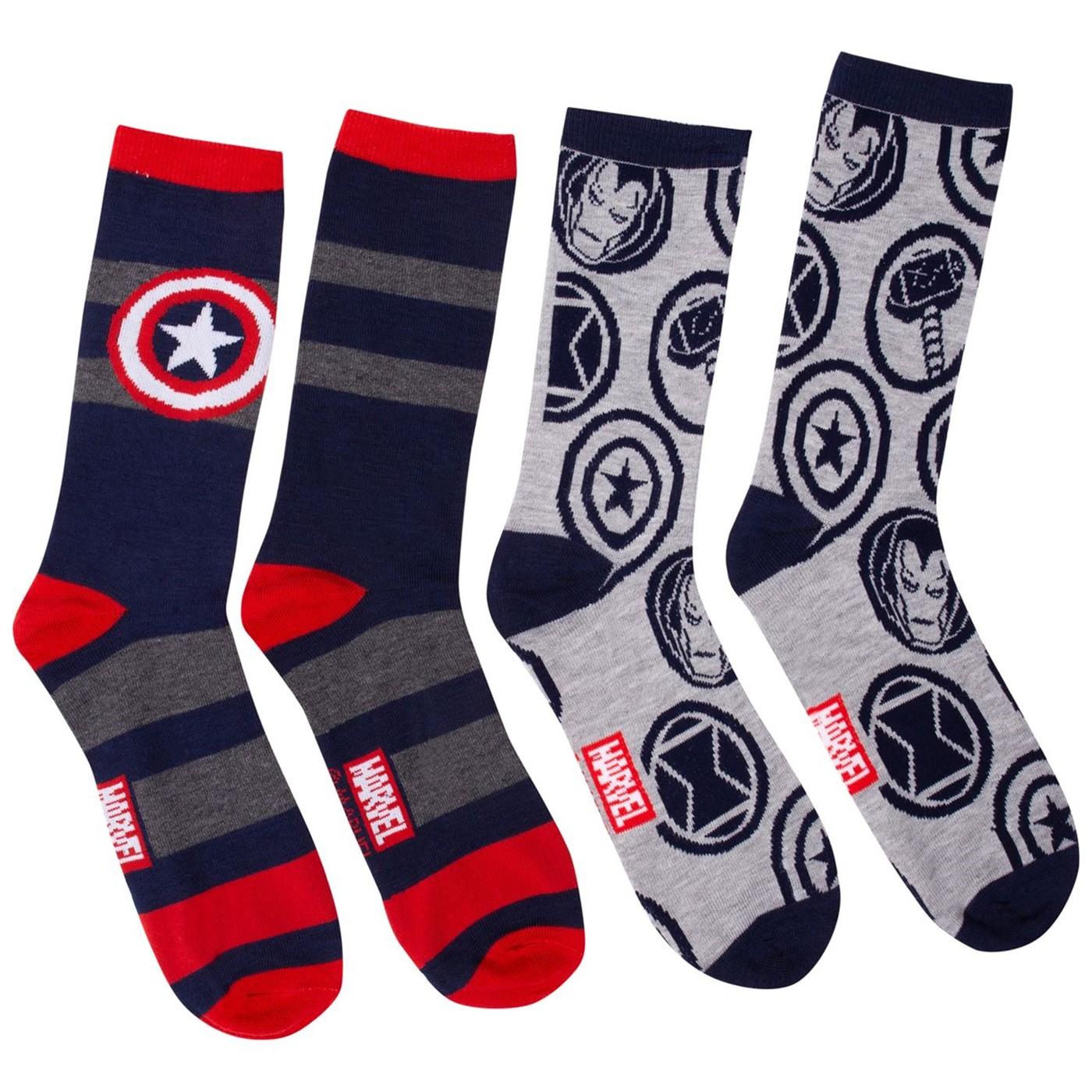 Captain America Symbol and Avengers Symbols Crew Socks Two Pack