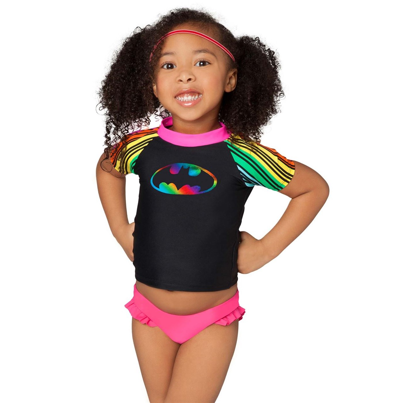 BatGirl Rainbow Rash Guard Top