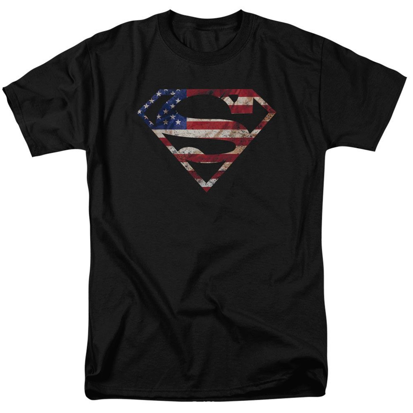Superman Classic Logo American Flag Men's T-shirt