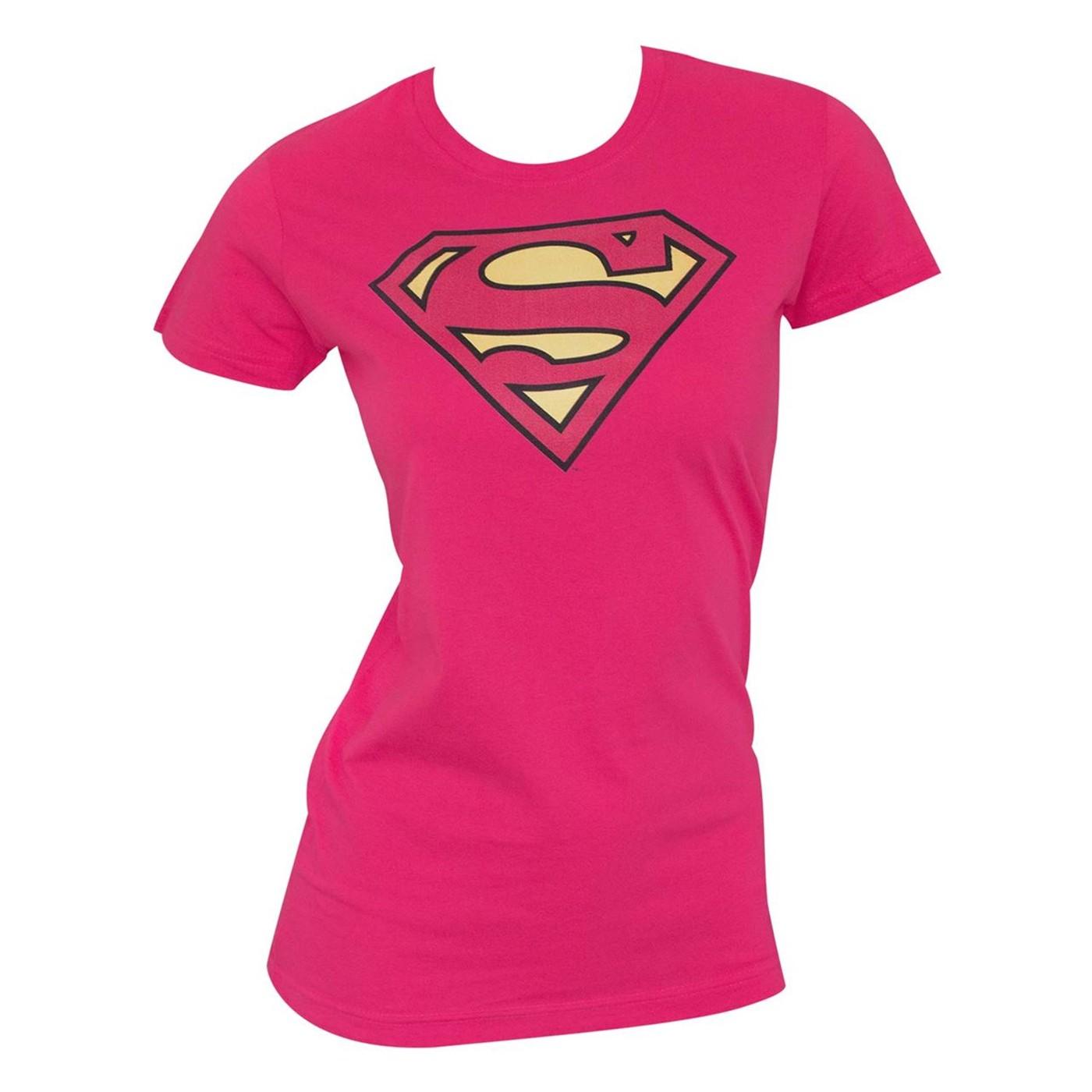 Superman Classic Logo Women's Pink T-Shirt