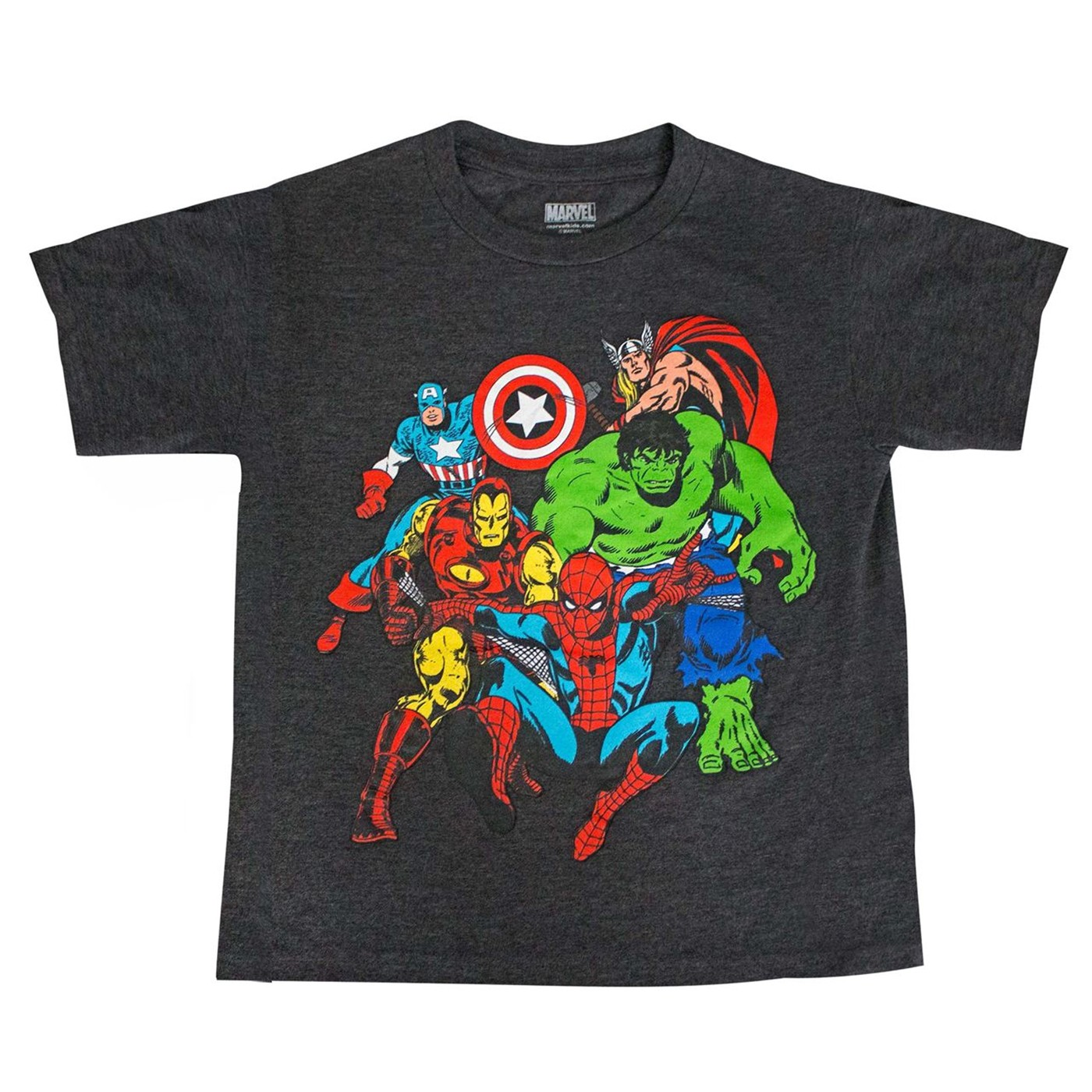 Avengers Team-up Spider-man Thor Hulk Captain America Boys T-shirt