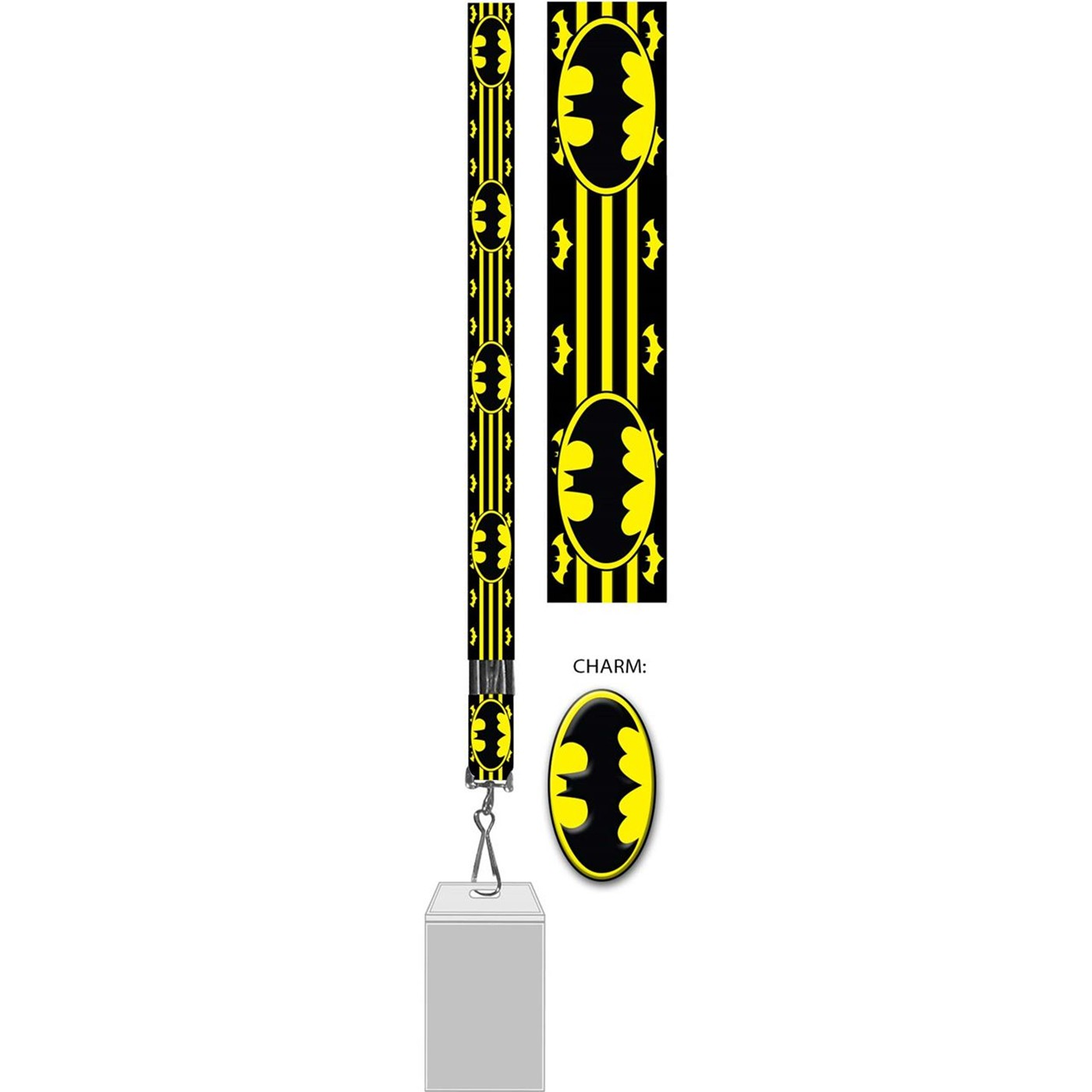 Batman Lanyard with Badge and Rubber Charm