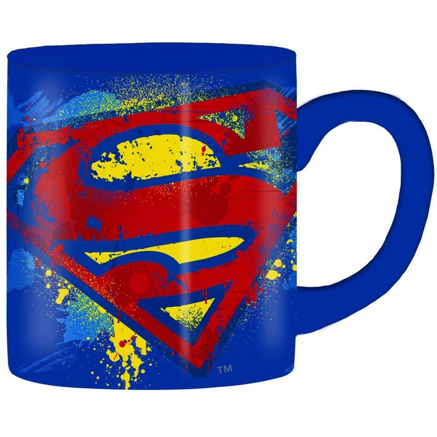 Superman Splatter Paint 14 Ounce Mug