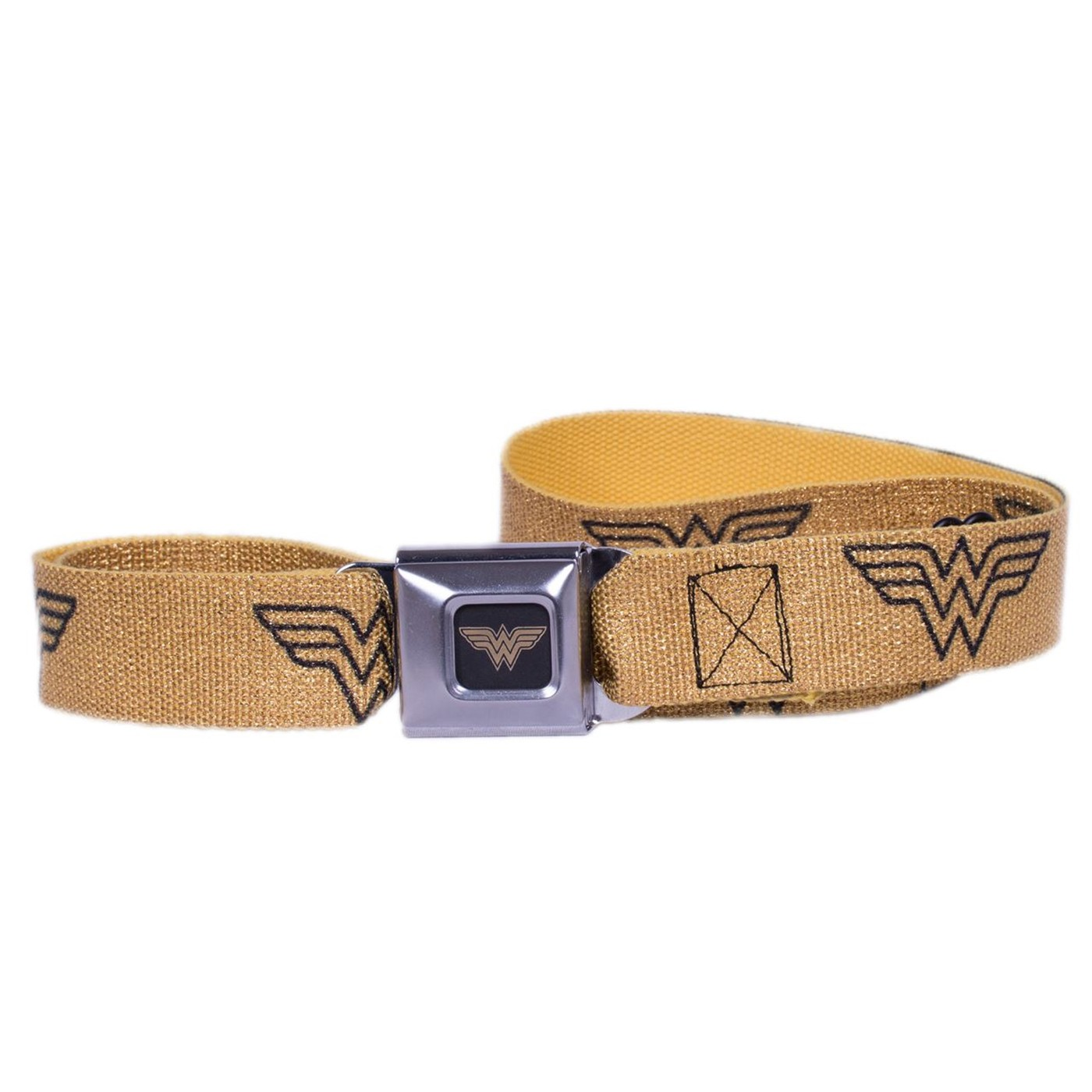 Wonder Woman Logo Reverse Brushed Black/Gold Seatbelt Belt