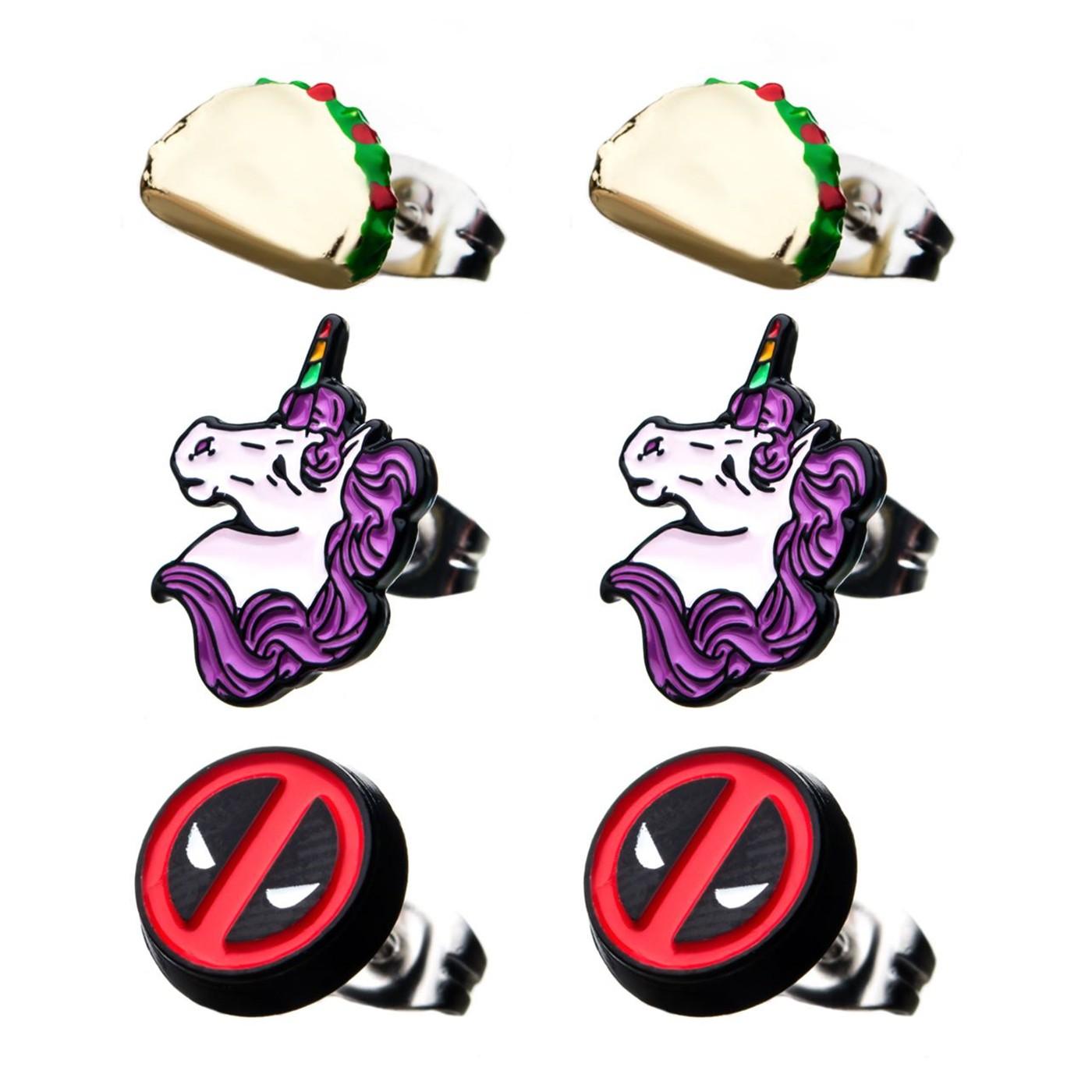 Deadpool 3-pack Stud Earrings