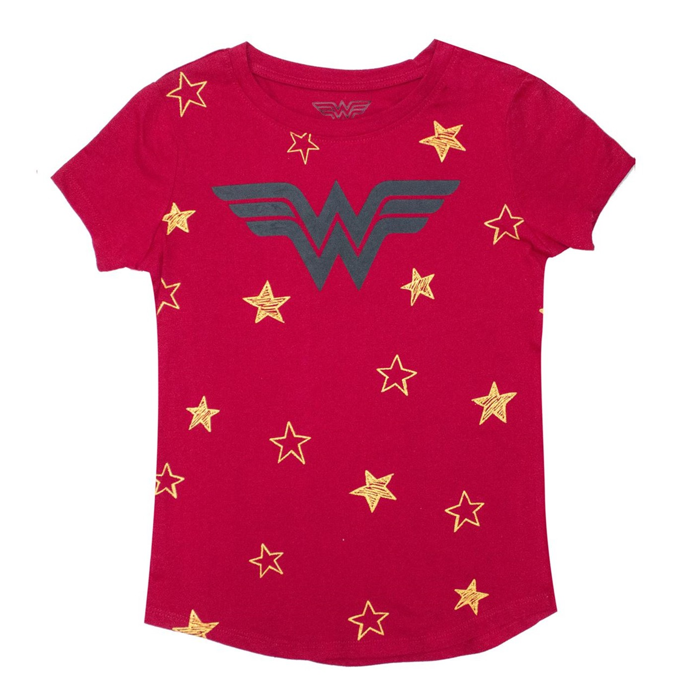 Wonder Woman Stars DC Girl's Red T-shirt