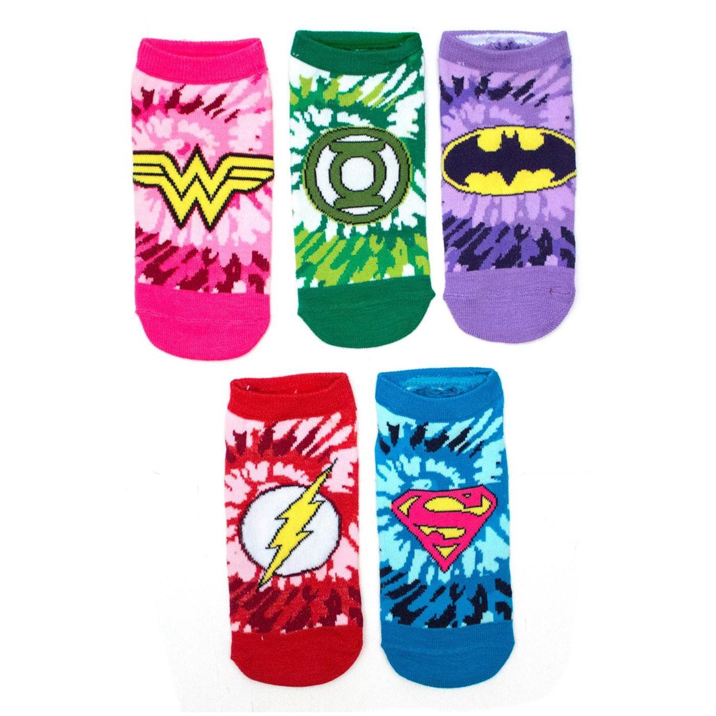 DC Comics Tye Dye Girls 5 Pair Low Cut Socks