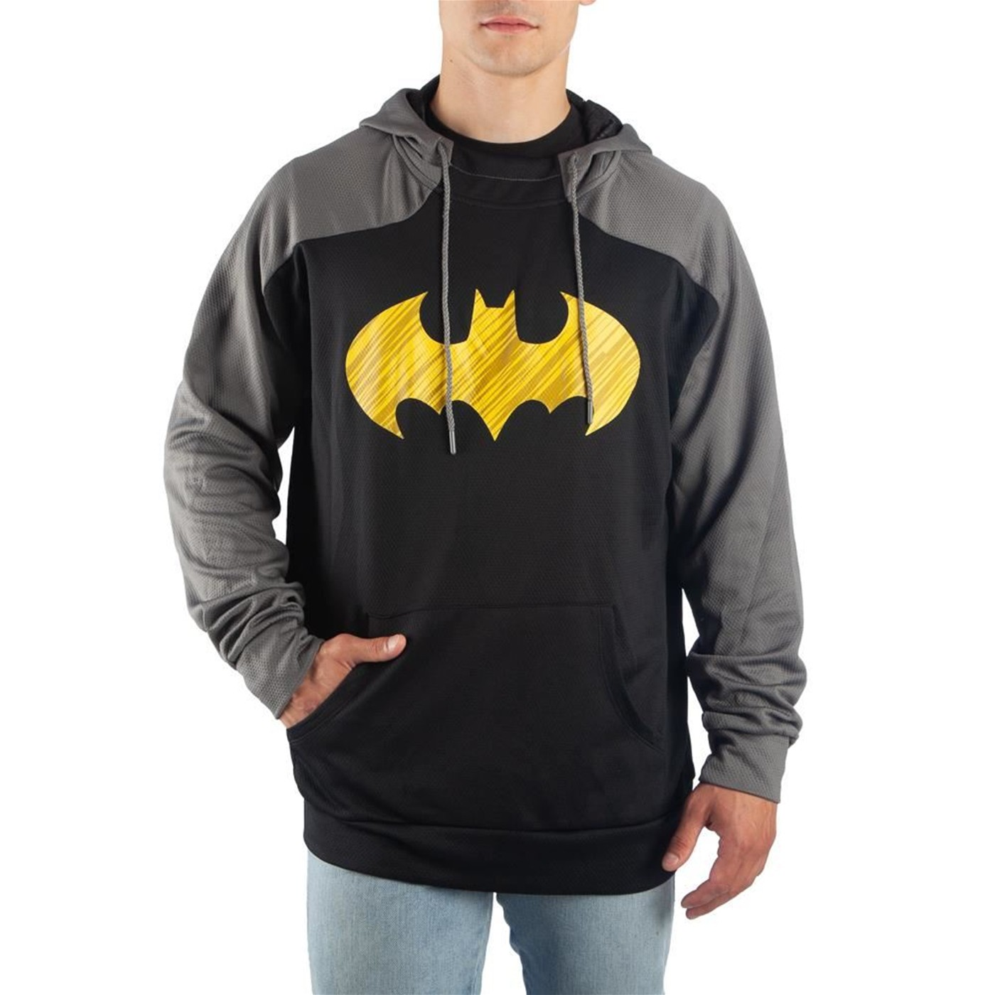 Batman Yellow Symbol Black and Grey Athletic Men's Hooded Sweatshirt