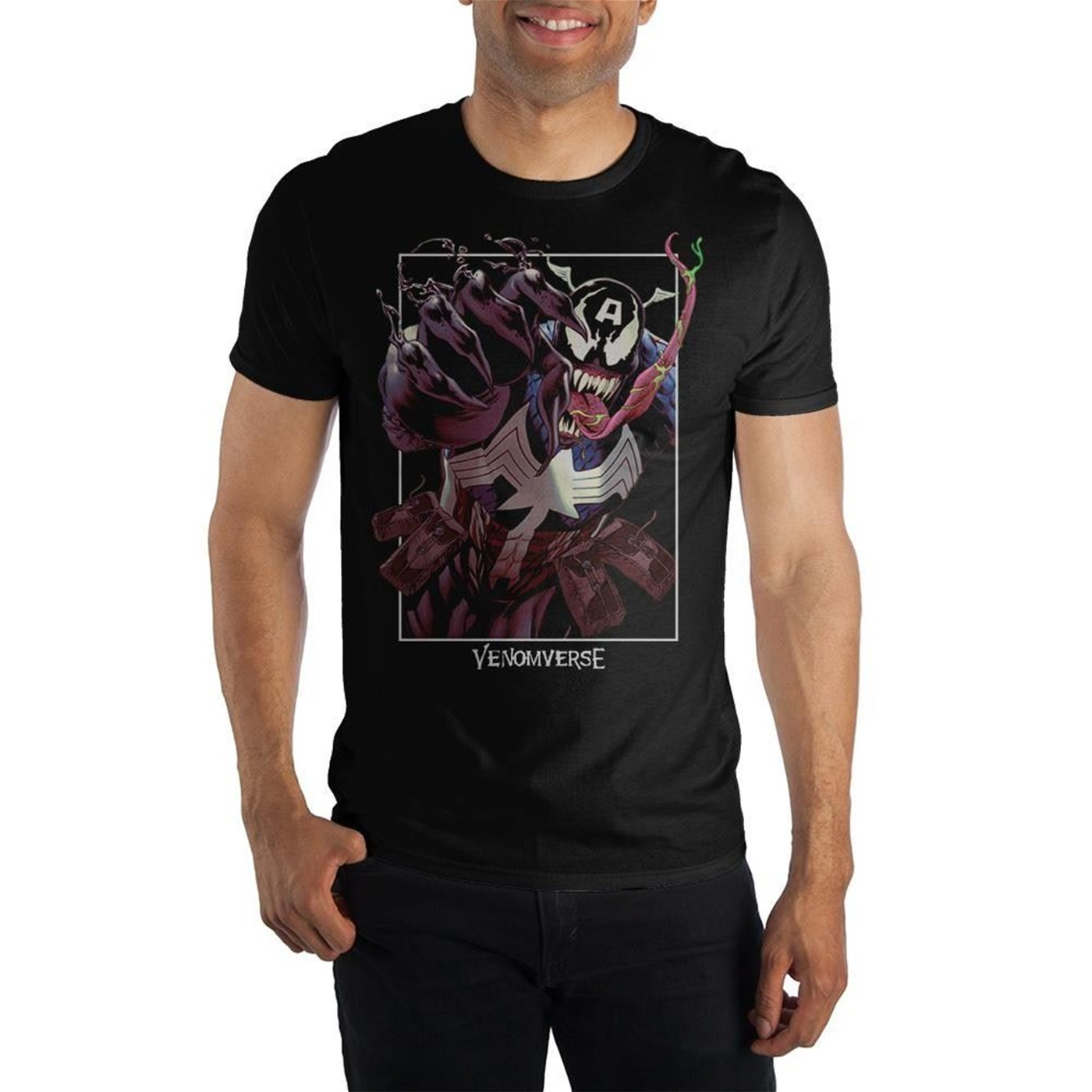 Captain America Venomized Men's Black T-Shirt