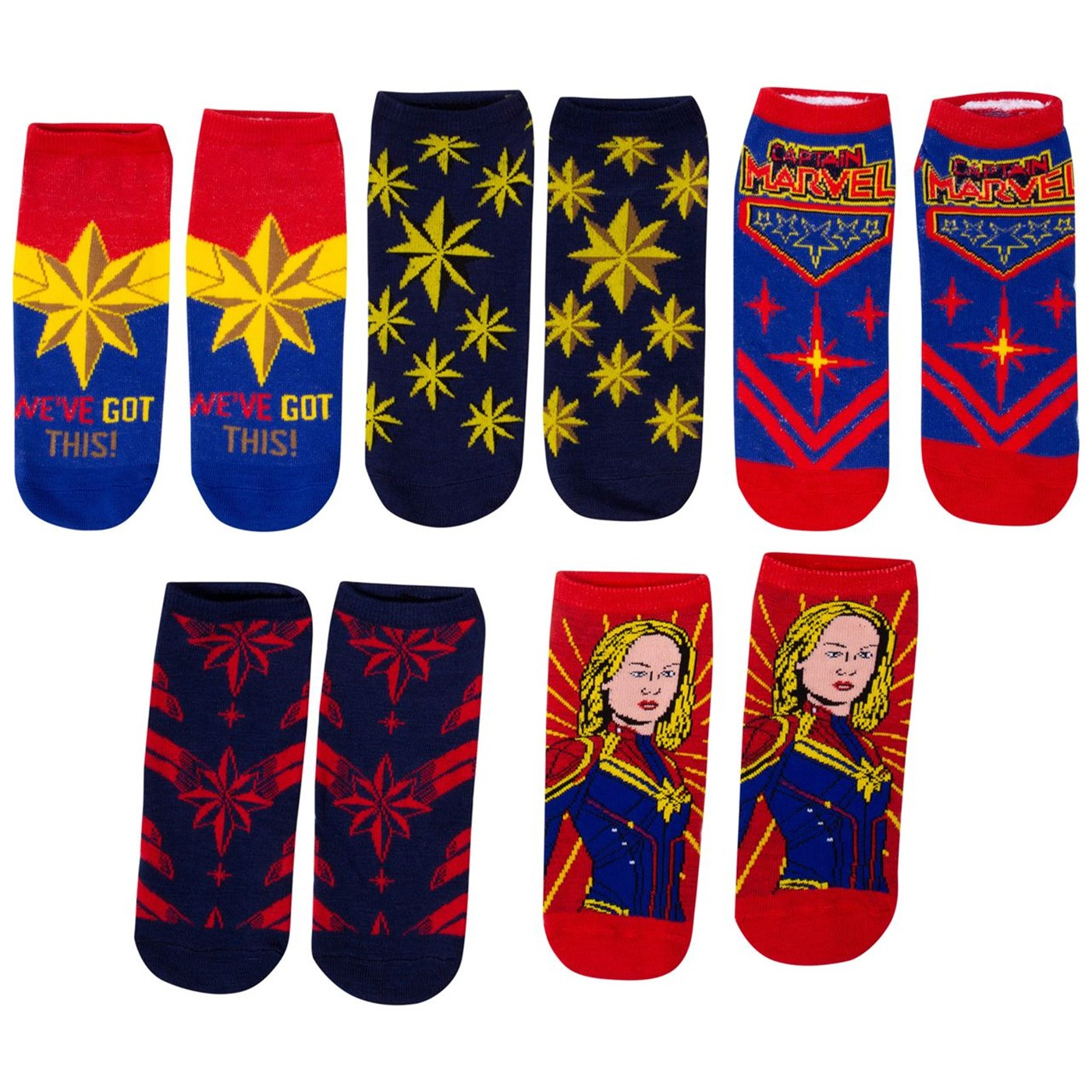 Captain Marvel Movie Five Pack Women's Socks