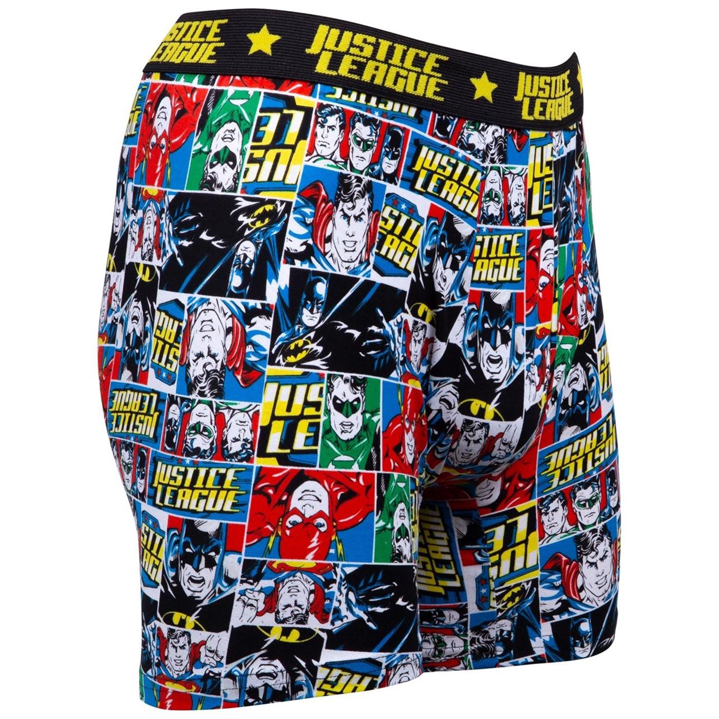 Justice League Comic Print Boxer Briefs