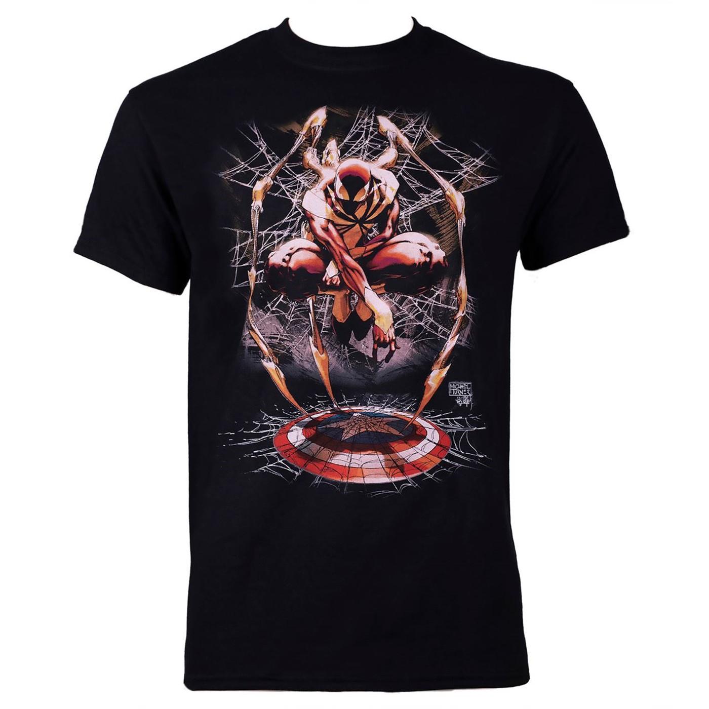Iron Spider Civil War Spider-man Black Men's T-shirt