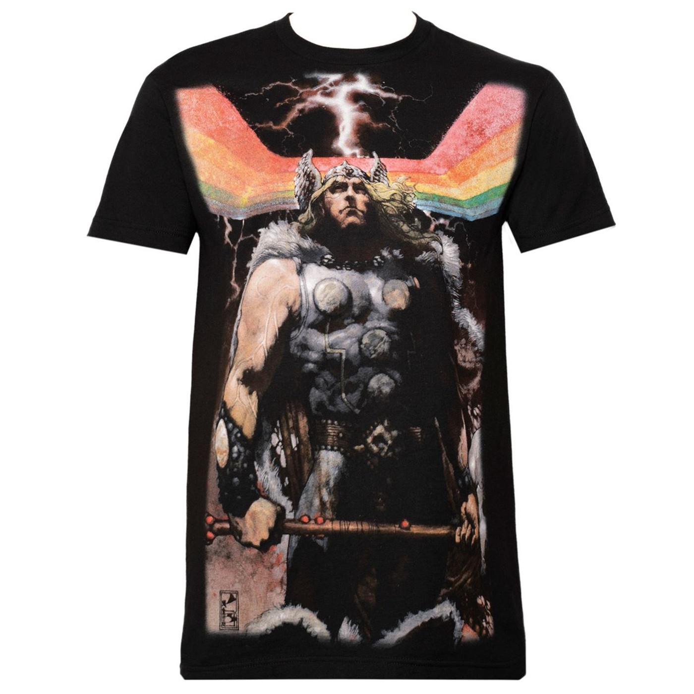 Thor Rainbow Sublimated Black Men's T-Shirt