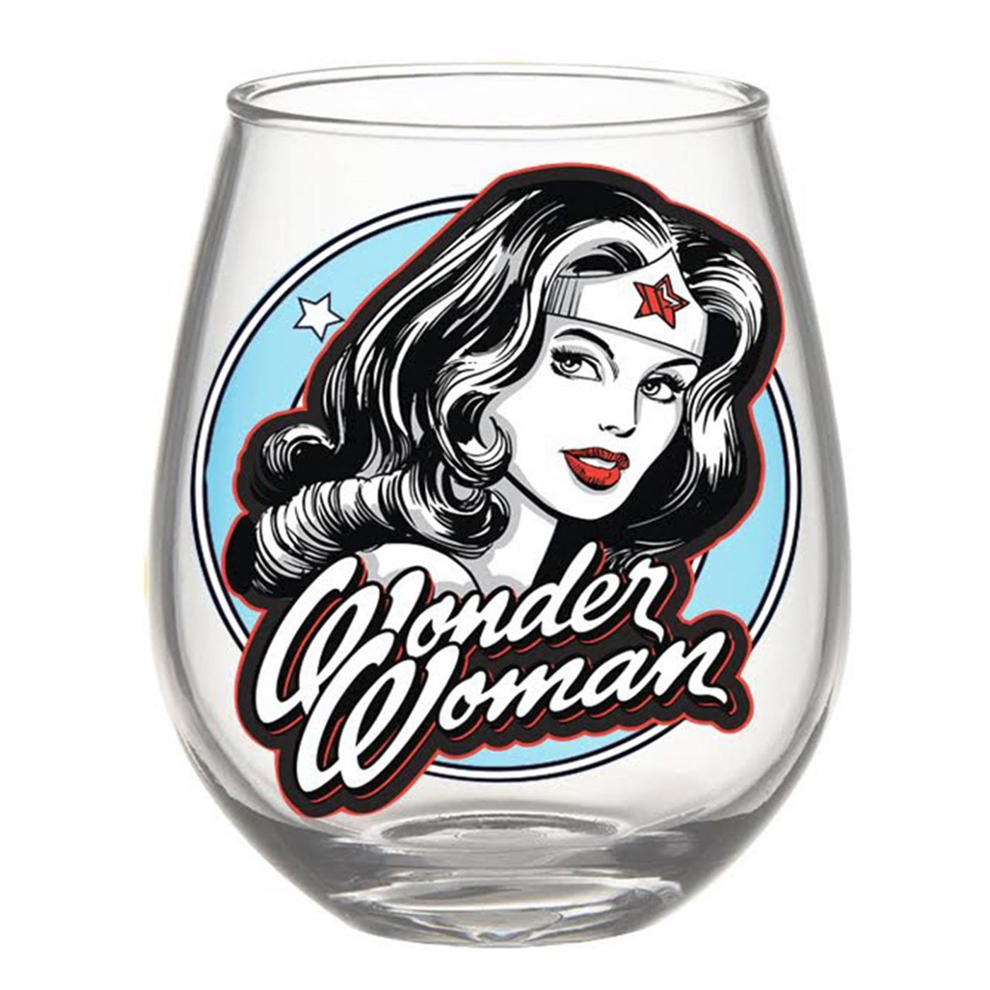 Wonder Woman Black and White 20oz Stemless Glass