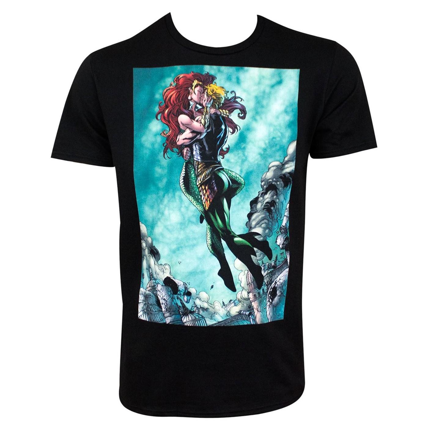 Aquaman and Mera Kissing Black Men's T-Shirt