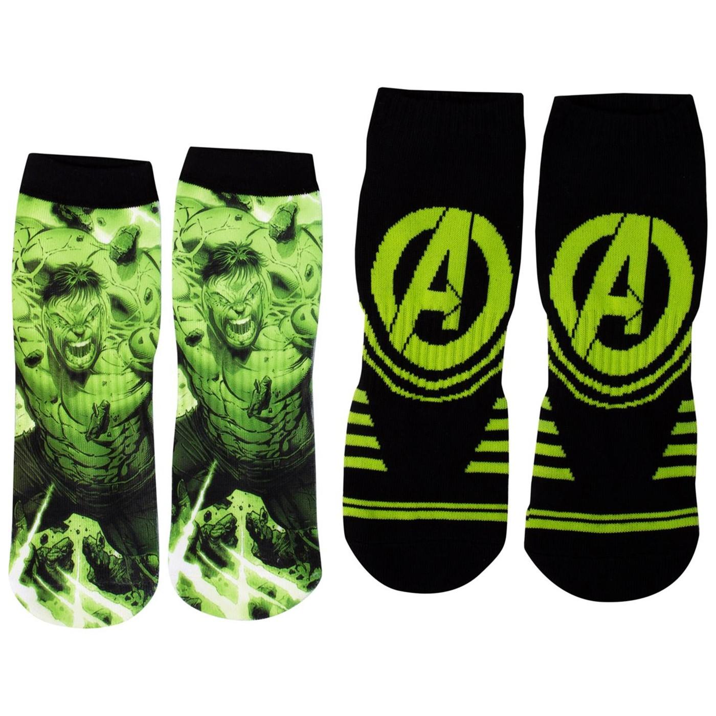 Incredible Hulk Two Pair No-Show Athletic Socks